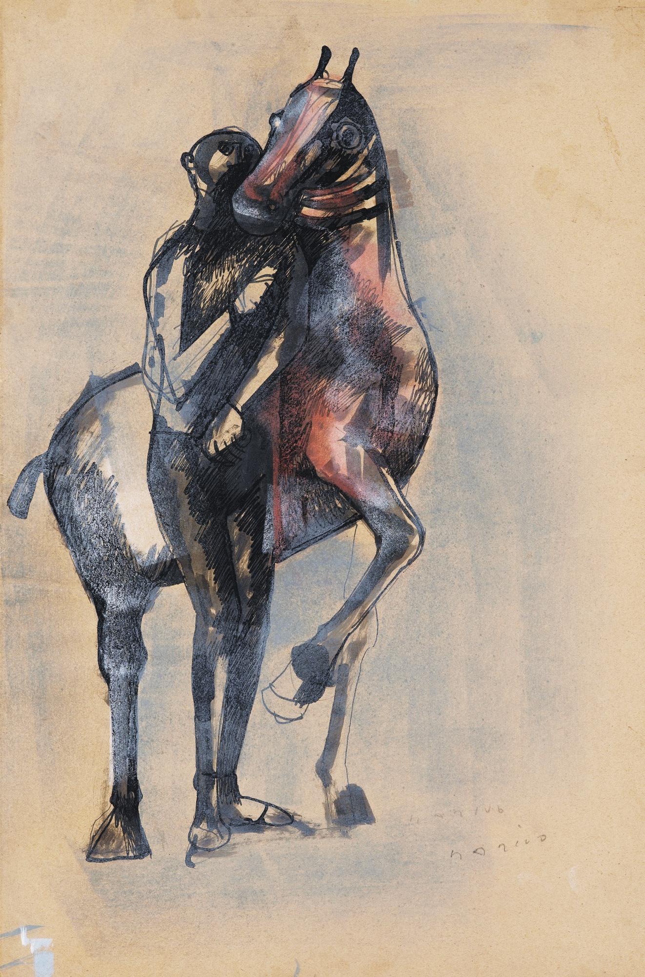 Marino Marini-Cheval Et Personnage Debout-1950