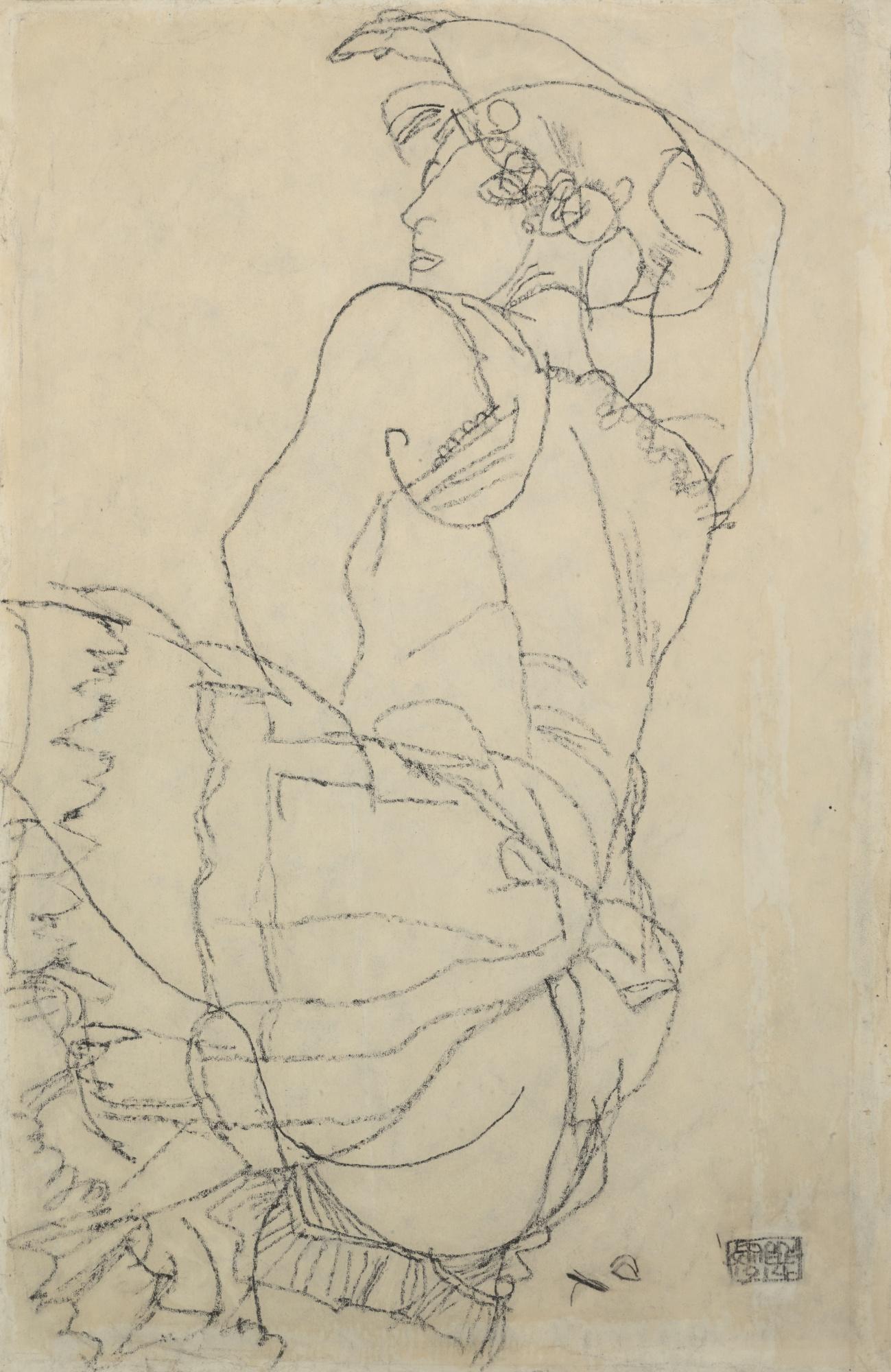 Egon Schiele-Frau In Unterwasche Mit Erhobenem Rechten Arm (Woman In Underclothes With Raised Right Arm) - Recto Kauernde Nackte Frau (Crouching Nude) - Verso-1914