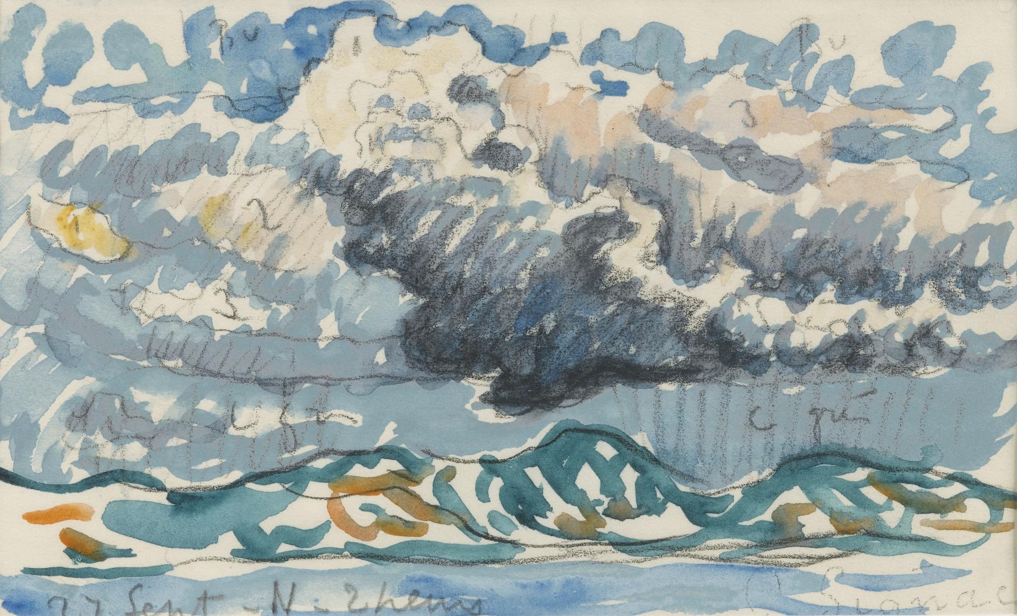 Paul Signac-Etude De Ciel Par Temps De Pluie (Page De Carnet)-