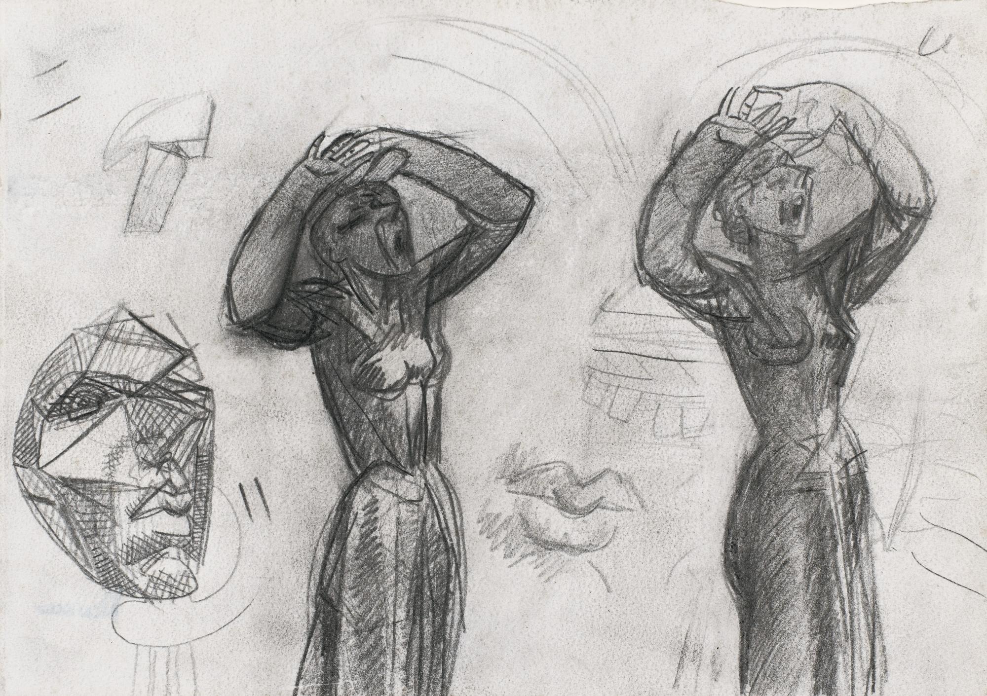 Julio Gonzalez-Etudes Pour La Petite Montserrat Effrayee, Recto/Verso-1940