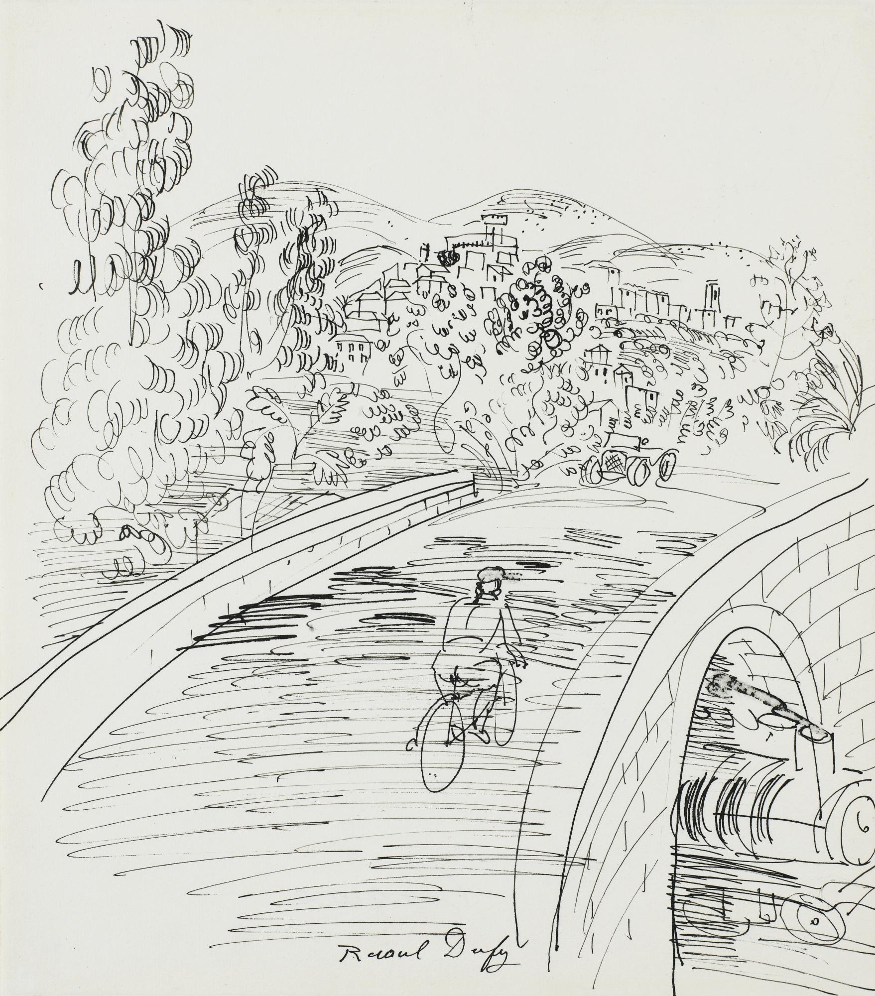 Raoul Dufy-Cycliste Sur Le Pont-1925
