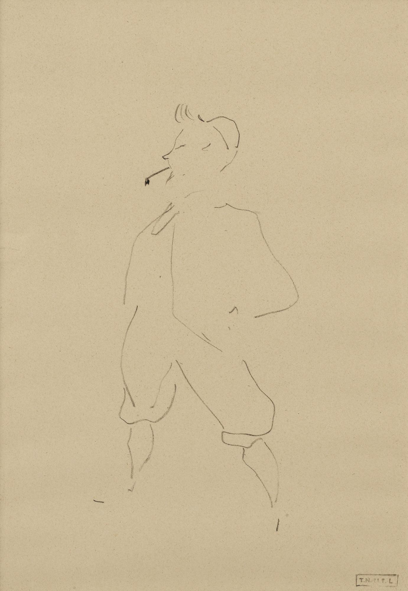 Henri de Toulouse-Lautrec-Romain Coolus, Debout En Costume Cycliste-1899