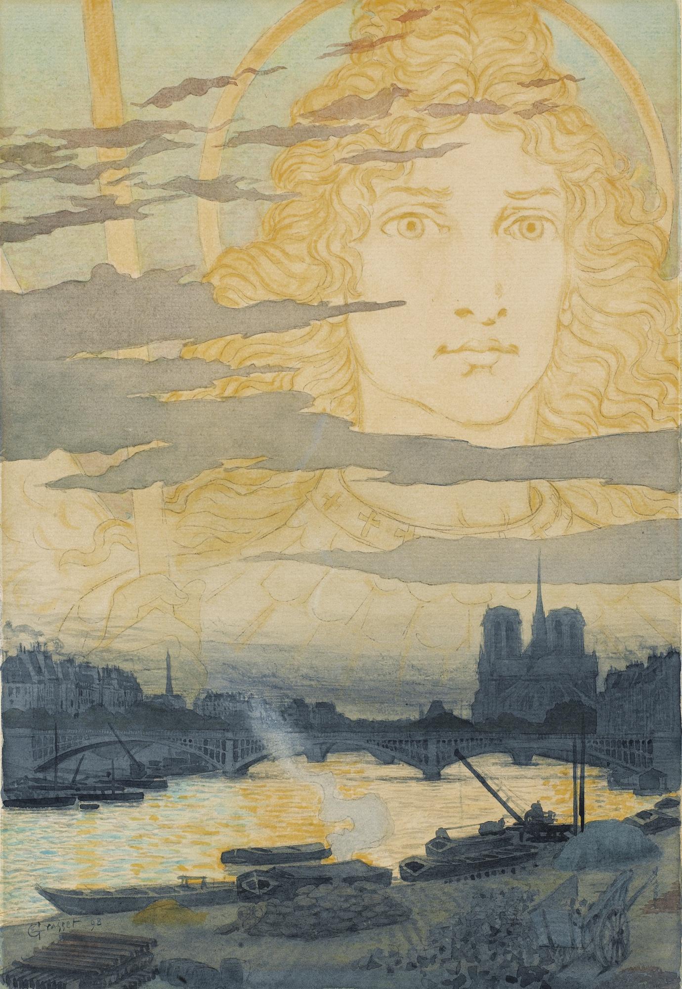 Eugene Grasset-Sainte Genevieve Veillant Sur Paris-1898