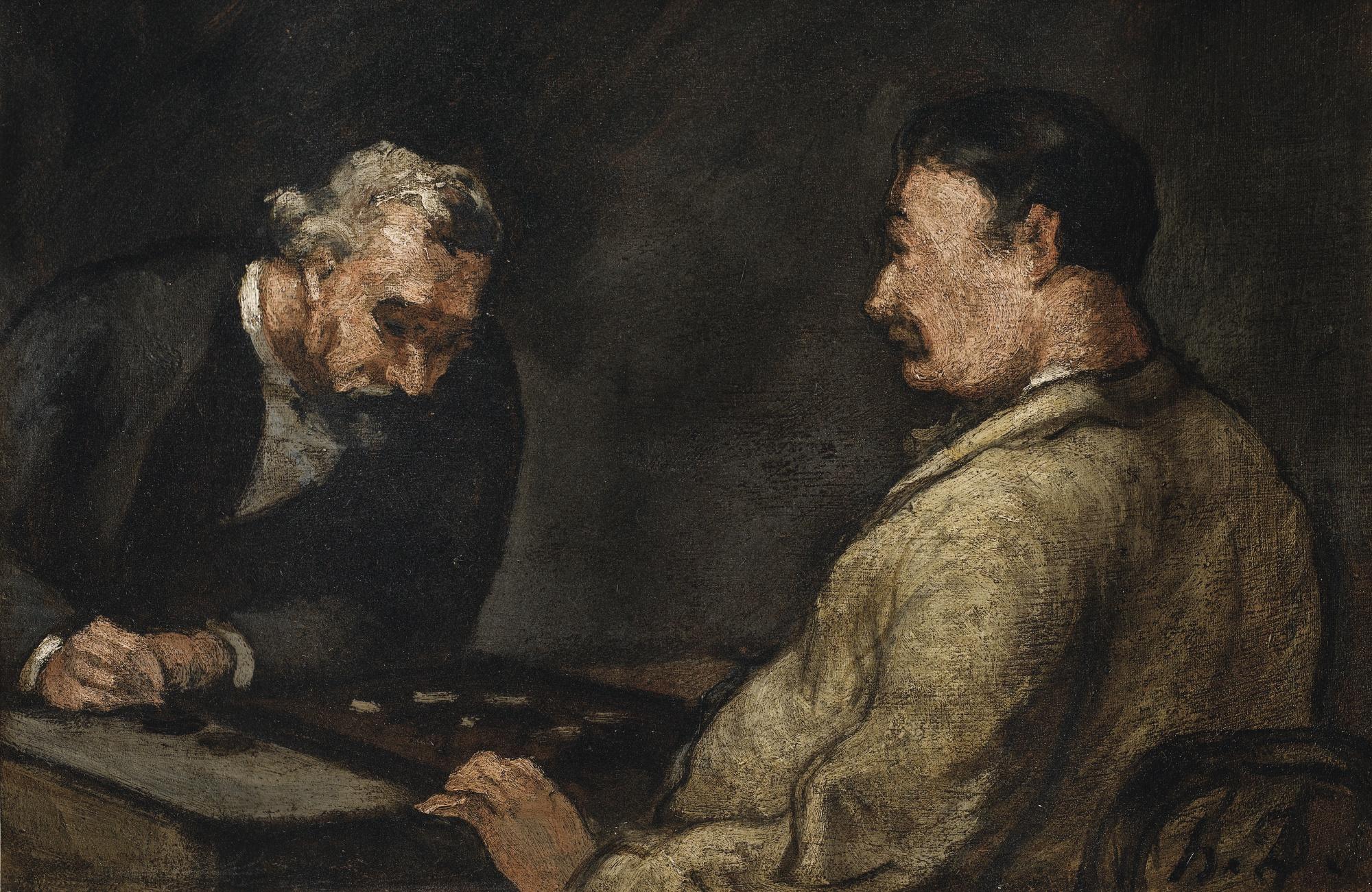 Honore Daumier-La Partie De Dames-