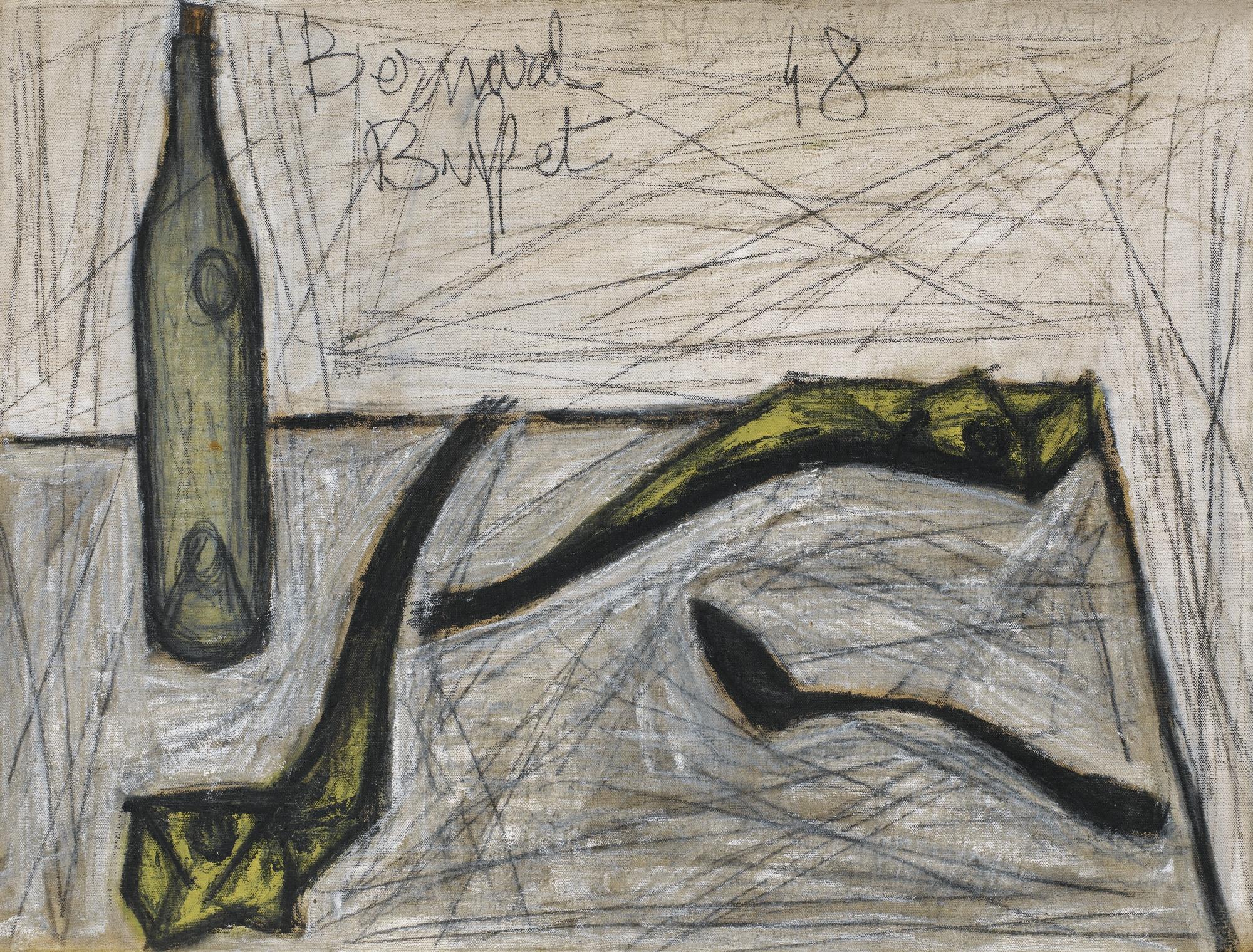 Bernard Buffet-Bouteille Et Deux Harengs Saurs-1948