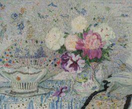 Leon De Smet-Nature Morte Au Bouquet, Panier Et Eventail-1916