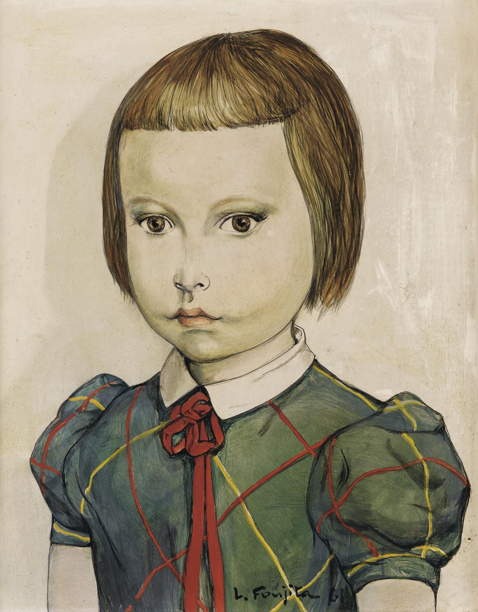 Tsuguharu Foujita-Portrait De Fillette Au Noeud Rouge-1961