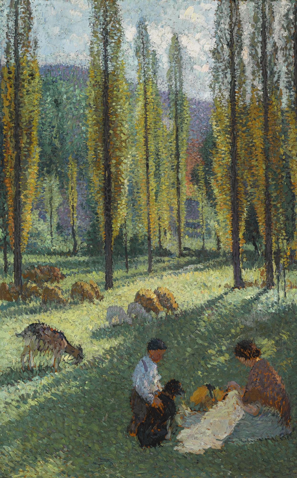 Henri Martin-Bergere Cousant A L'Ombre Des Peupliers Dans Une Prairie Avec Un Garcon Et Un Chien-1920
