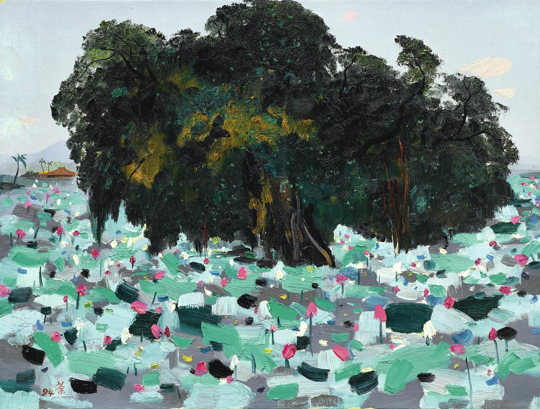 Wu Guanzhong-A Banyan And Lotus Flowers-1994