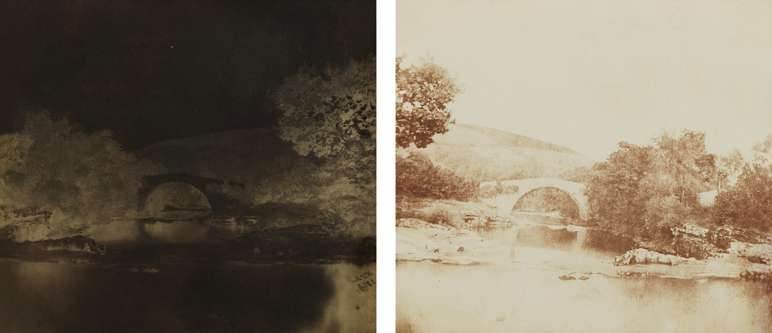 Nevil Story Maskelyne - One-Arch Bridge, Breconshire (negative and positive)-1849