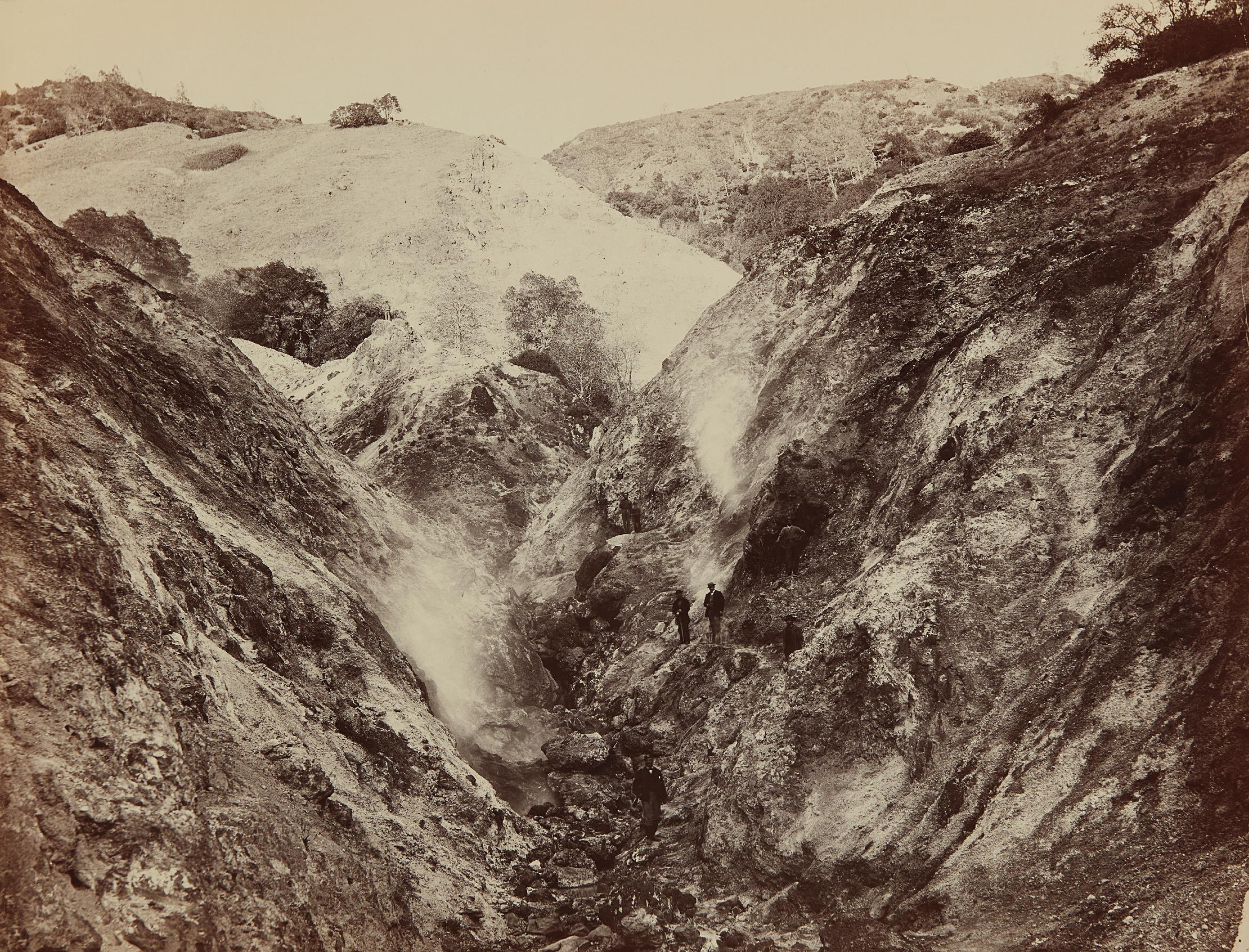 Carleton Watkins-Devils Canyon, Geysers, Looking Up-1870