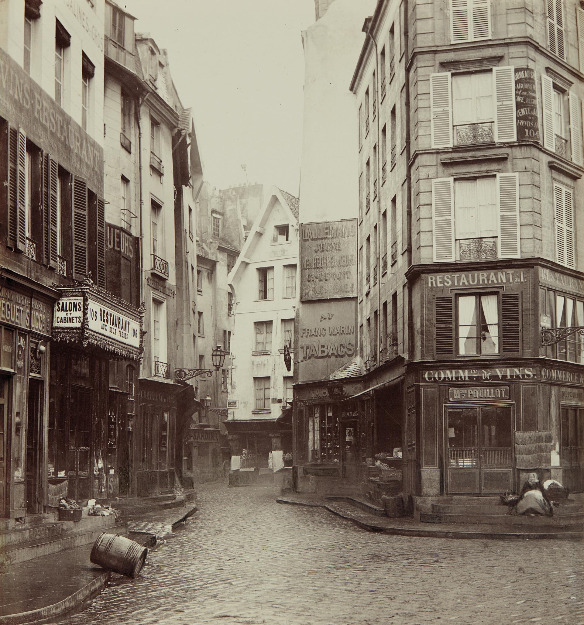 Charles Marville-Rue Pirouette, vue prise de la rue Rambuteau, 1er arrondissement, Paris-1865