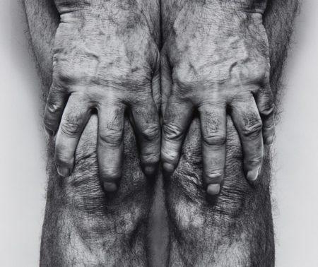 John Coplans-Self-Portrait (Hands spread on knees)-1985