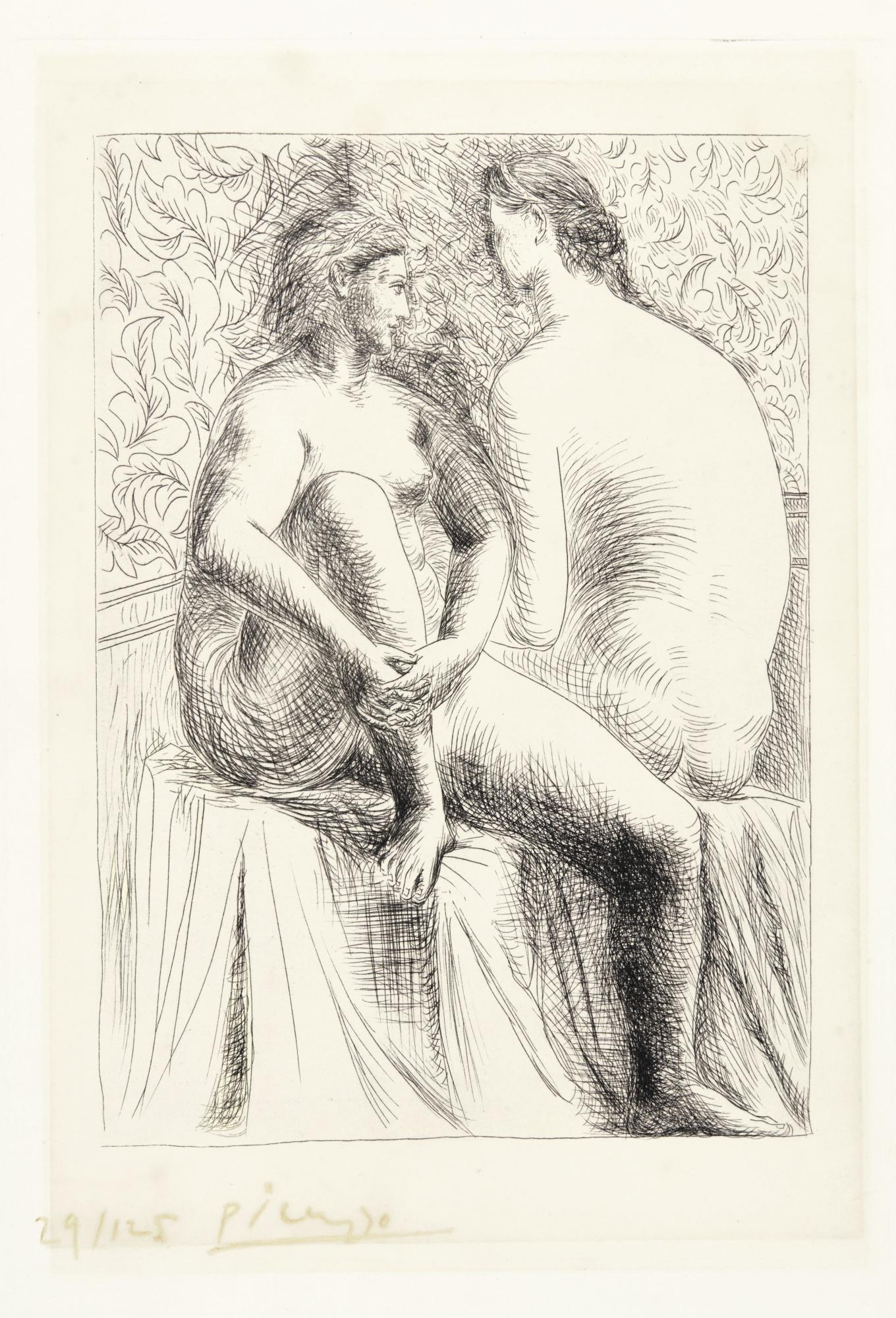 Pablo Picasso-Deux Femmes Nues. II (B. 132; Ba. 199)-1930
