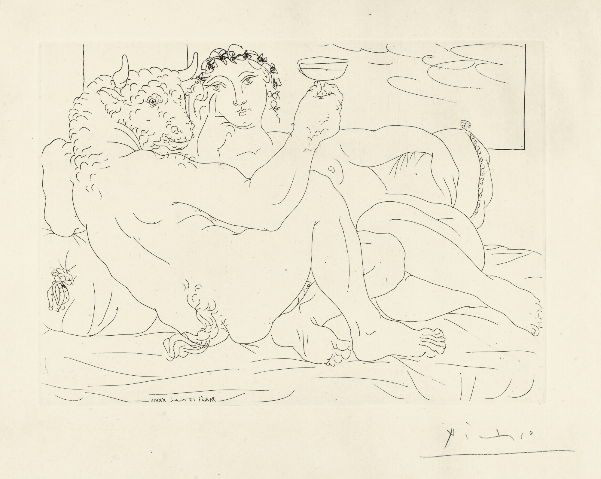 Pablo Picasso-Minotaure, Une Coupe A La Main, Et Jeune Femme (B. 190; Ba. 349)-1933
