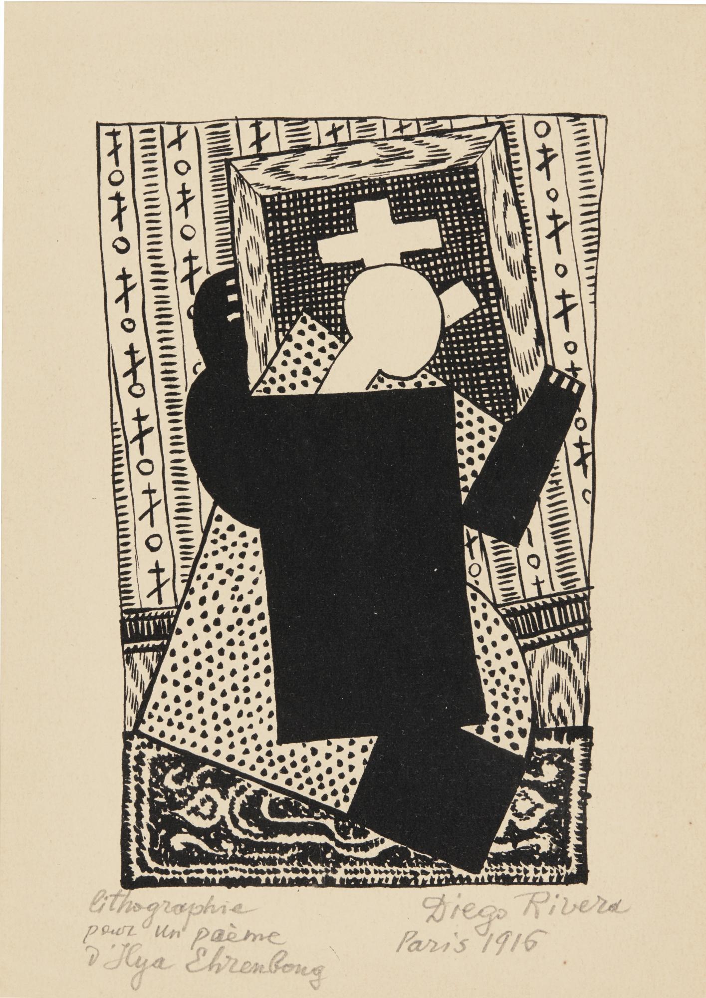 Diego Rivera-From Ehrenbourg: Histoire De La Vie D'Une Certaine Nadia Et Des Signes Fatidigues Qui Lui Sont Apparus (Cortes-Gutierrez 202-205)-1916