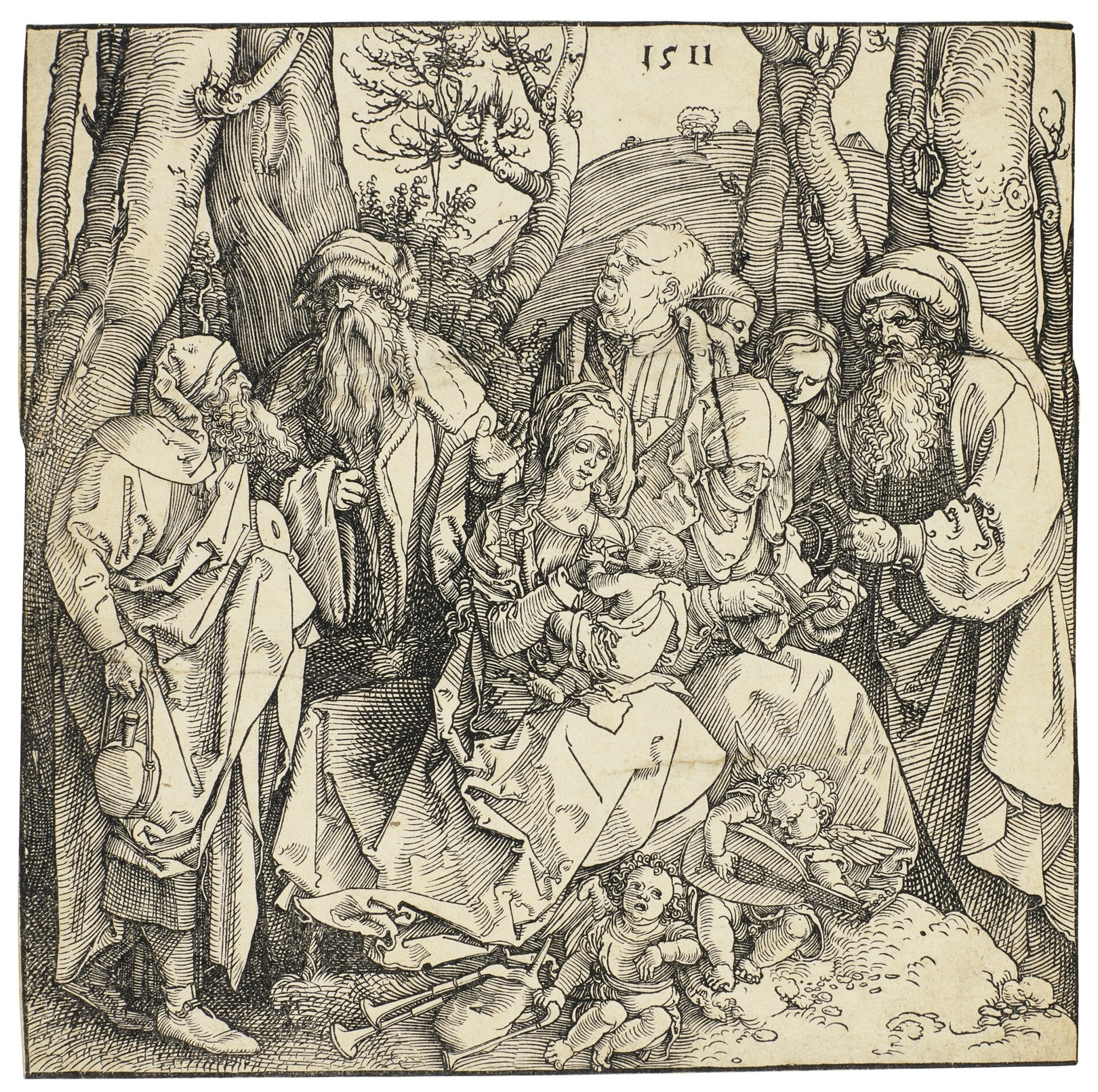 Albrecht Durer-The Holy Kinship With The Lute-Playing Angels (B. 97; M., Holl. 216)-1511