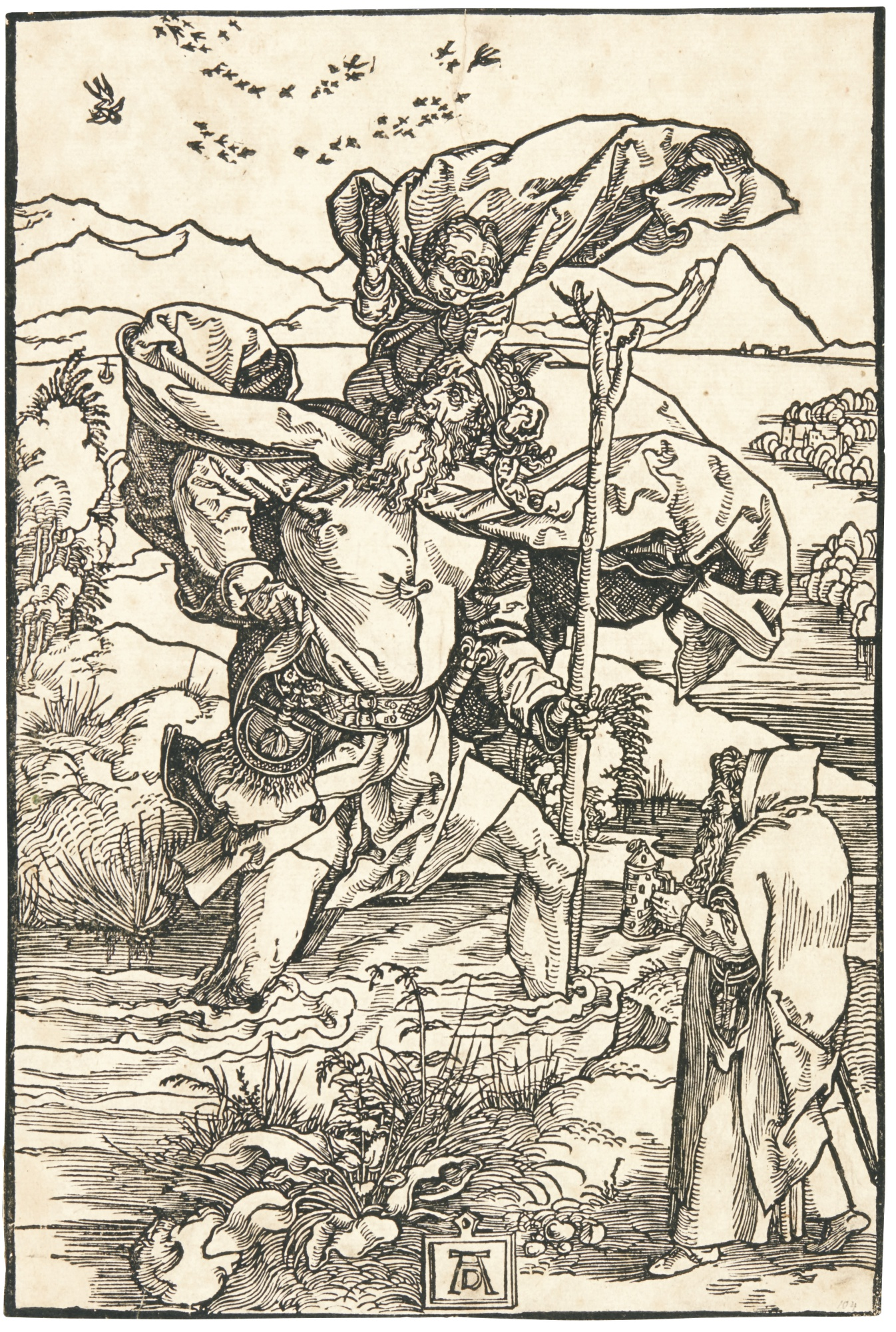 Albrecht Durer-The Last Supper; The Holy Family With Joachim And Anna Under A Tree; Saint Christopher With The Flight Of Birds; And Saints Nicholas, Ulrich And Erasmus (B. 53, 96, 104, 118; M., Holl. 184, 215, 222, 233)-1523