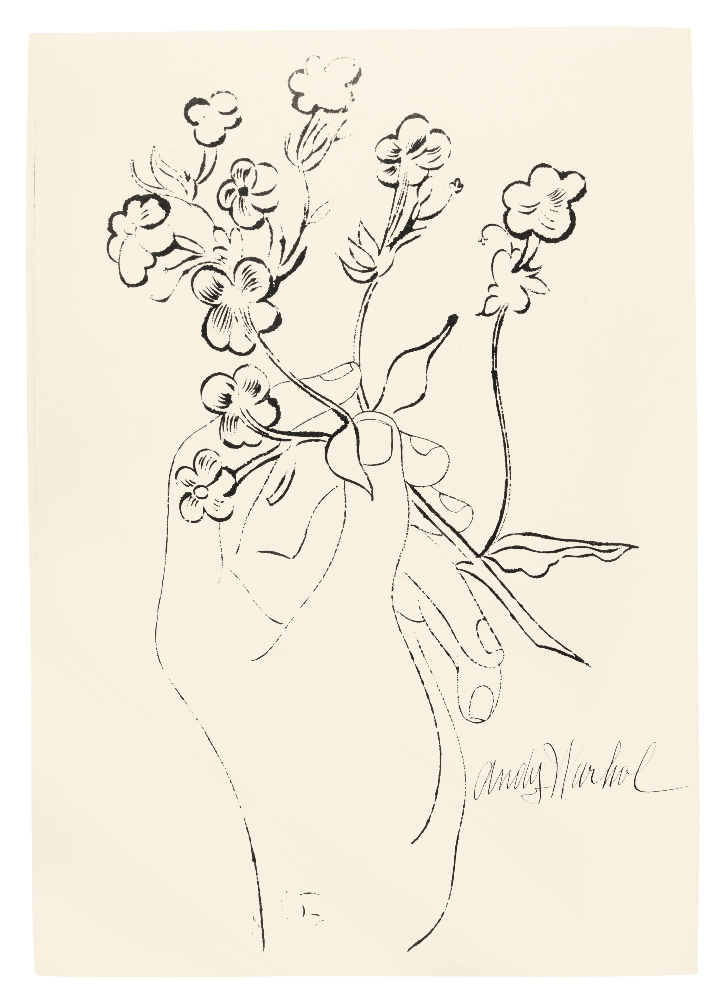 Andy Warhol-Hand And Flowers (See F. & S. Iv.125B)-1957