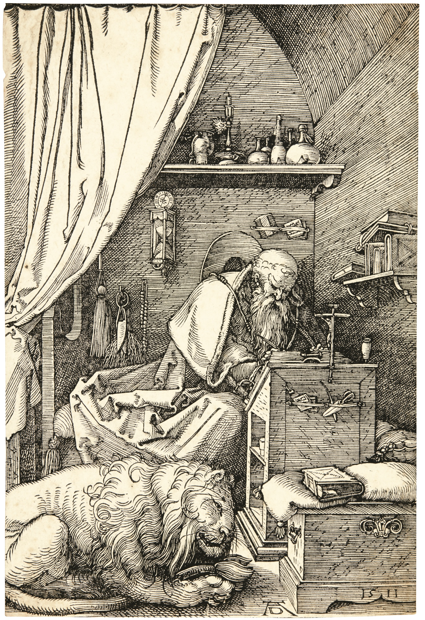Albrecht Durer-Saint Jerome In His Cell (B. 114; M., Holl. 228)-1511