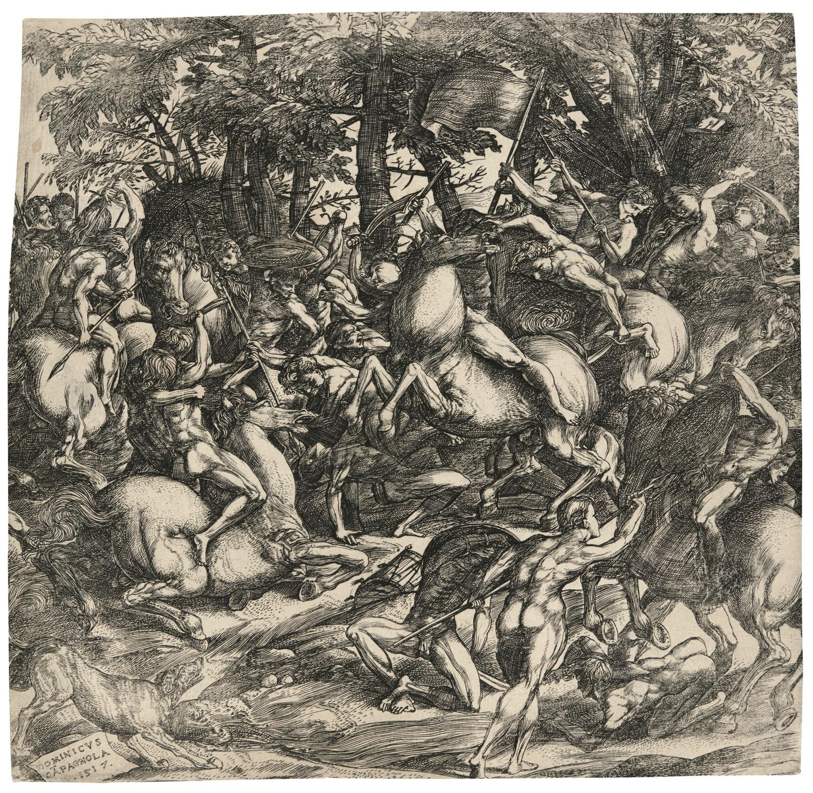 Domenico Campagnola-Battle Of Nude Men (Bartsch 10, Hind 4)-1517