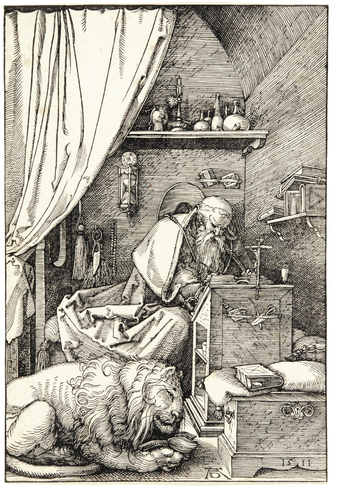Albrecht Durer-Saint Jerome In His Cell (B. 114; M., Holl. 228)-1511