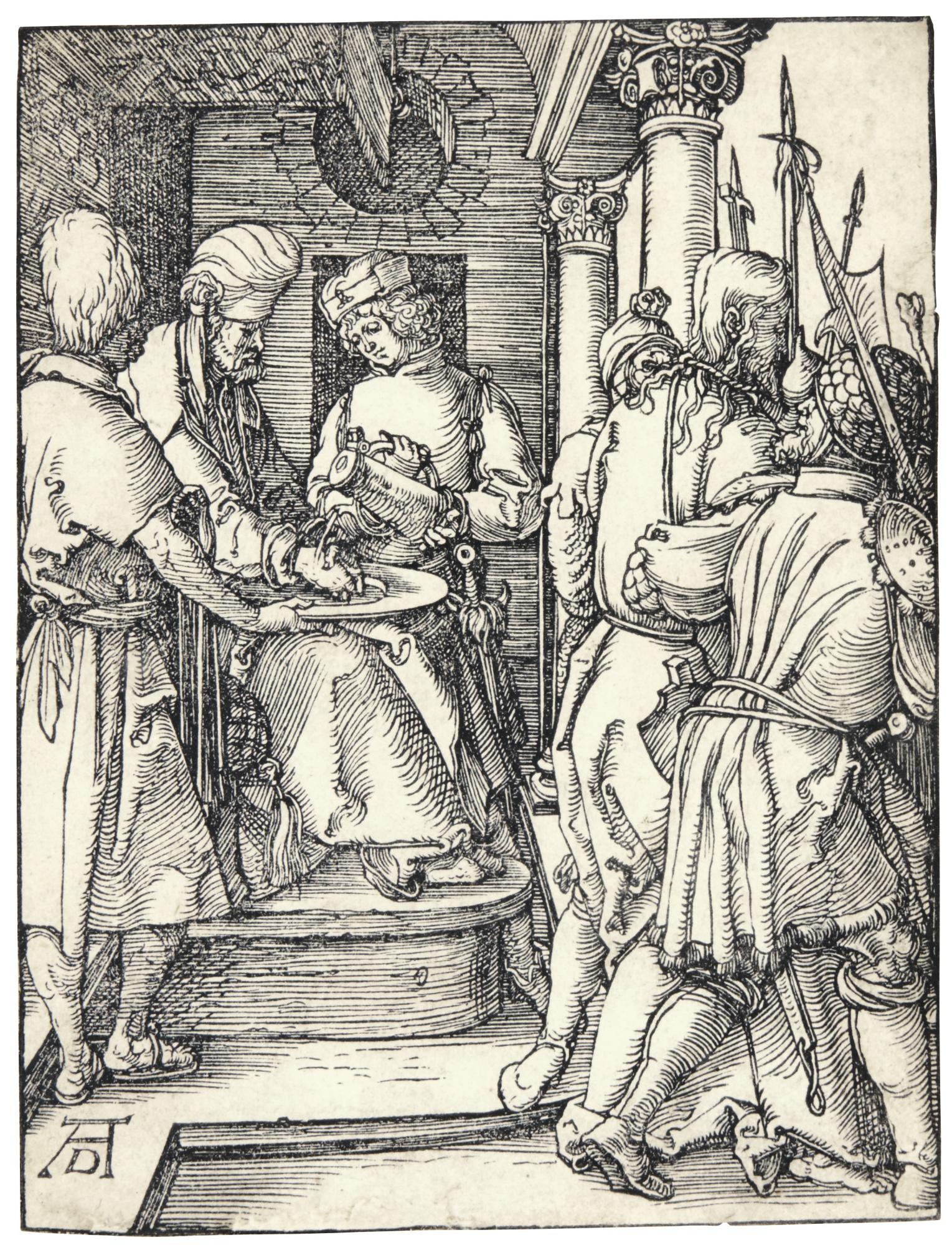 Albrecht Durer-Pilate Washing His Hands (B. 36; M., Holl. 145)-1509