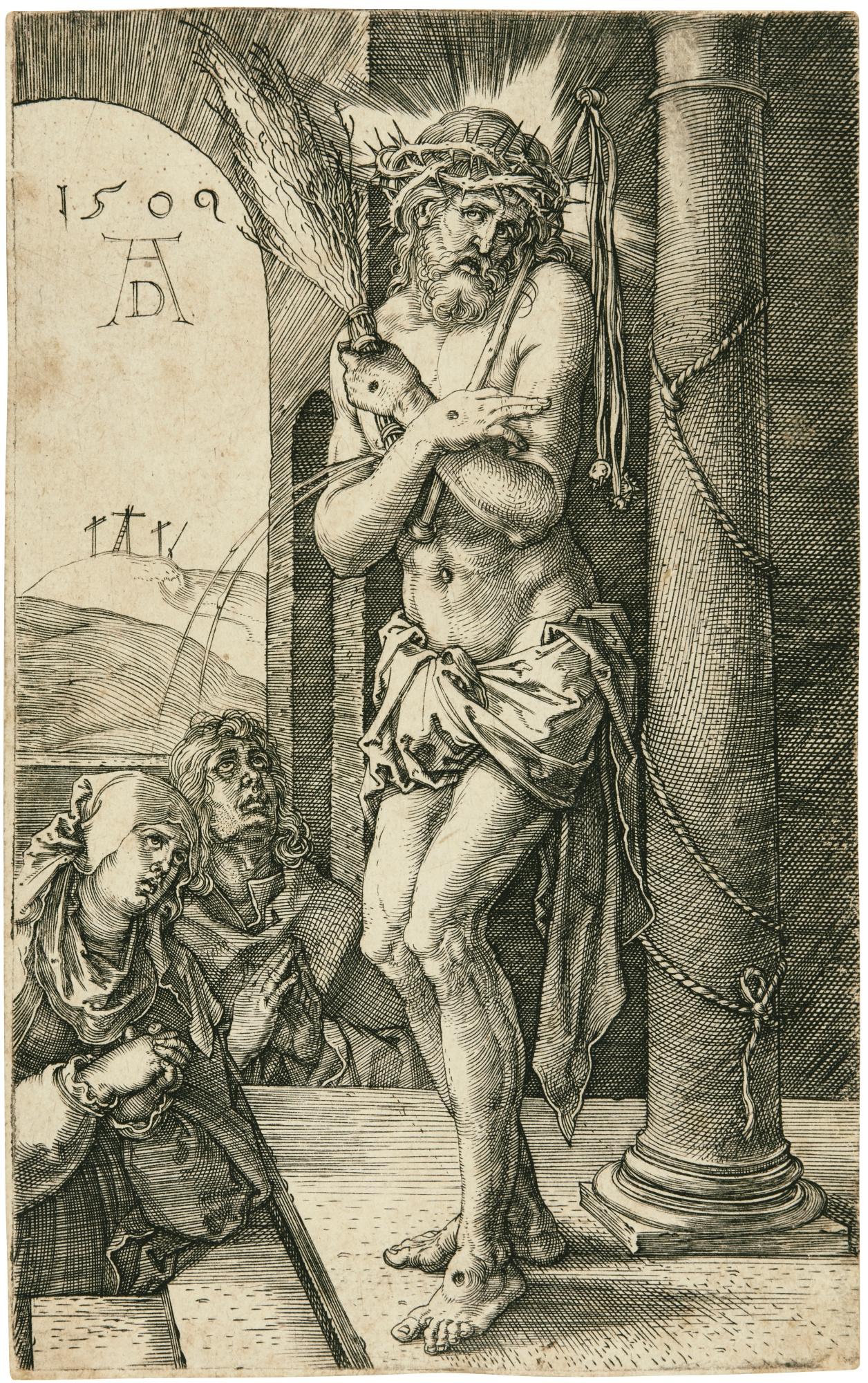Albrecht Durer-The Man Of Sorrows Standing By The Column (Bartsch, Meder, Hollstein 3)-1509