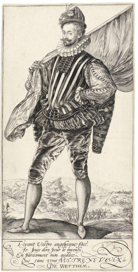 Hendrick Goltzius-The Standard-Bearer, Facing Left; And The Roman Heroes (B., Holl. 217, 96-98, 100-102; Strauss 161, 231-233, 235-237)-1582