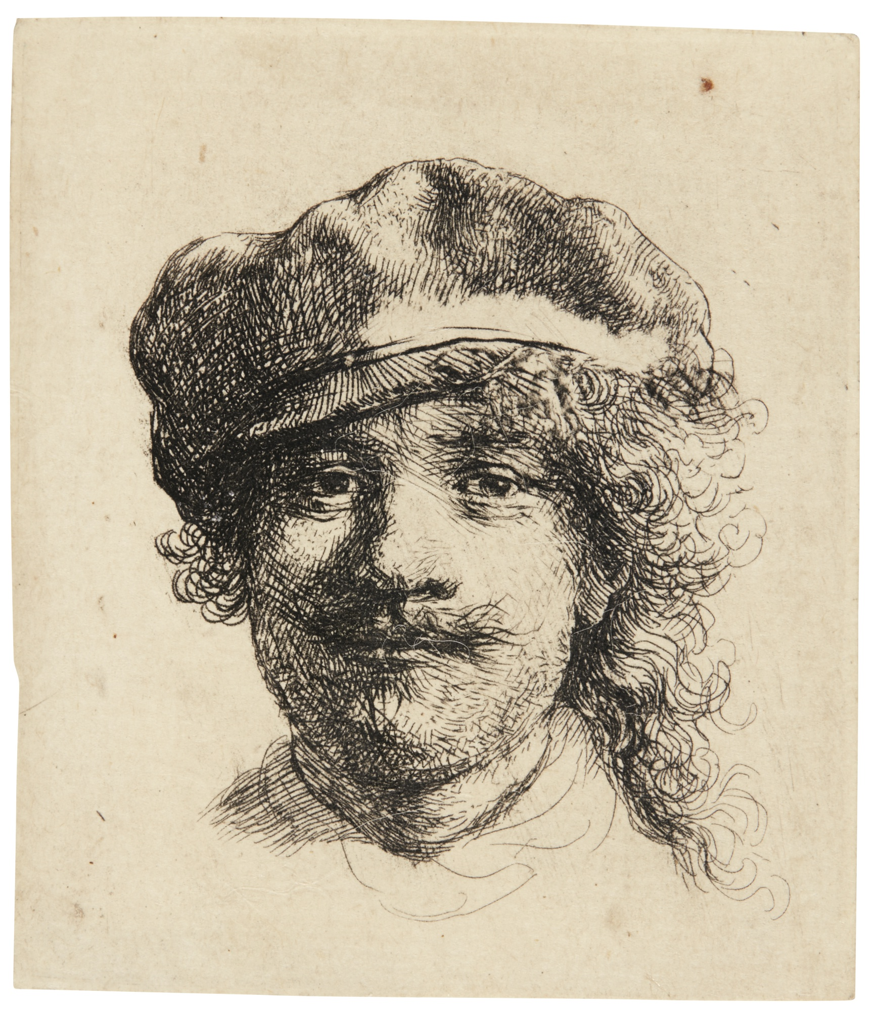 Rembrandt van Rijn-Self-Portrait Wearing A Cap: Full Face, Head Only (Bartsch, Hollstein 2; New Hollstein 133; Hind 57)-1634