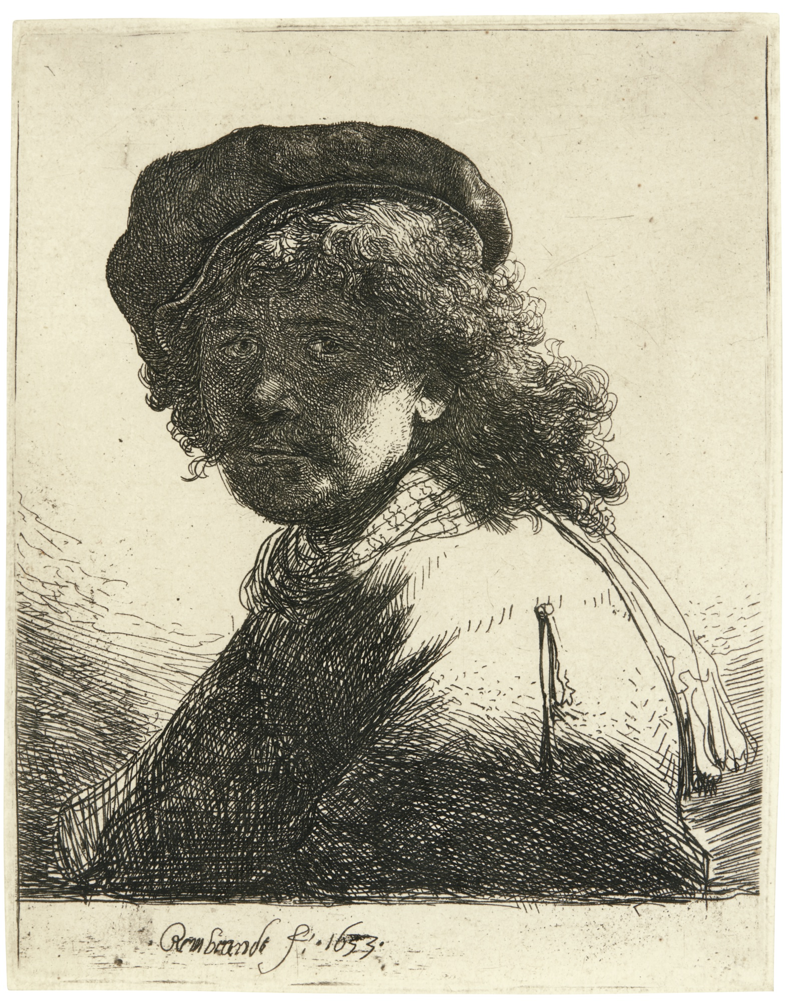 Rembrandt van Rijn-Self-Portrait In A Cap And Scarf With The Face Dark: Bust (B. Holl. 17; New Holl 120; H. 108)-1633