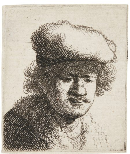 Rembrandt van Rijn-Self-Portrait With Cap Pulled Forward (B., Holl. 319; New Holl. 71; H. 58)-1630