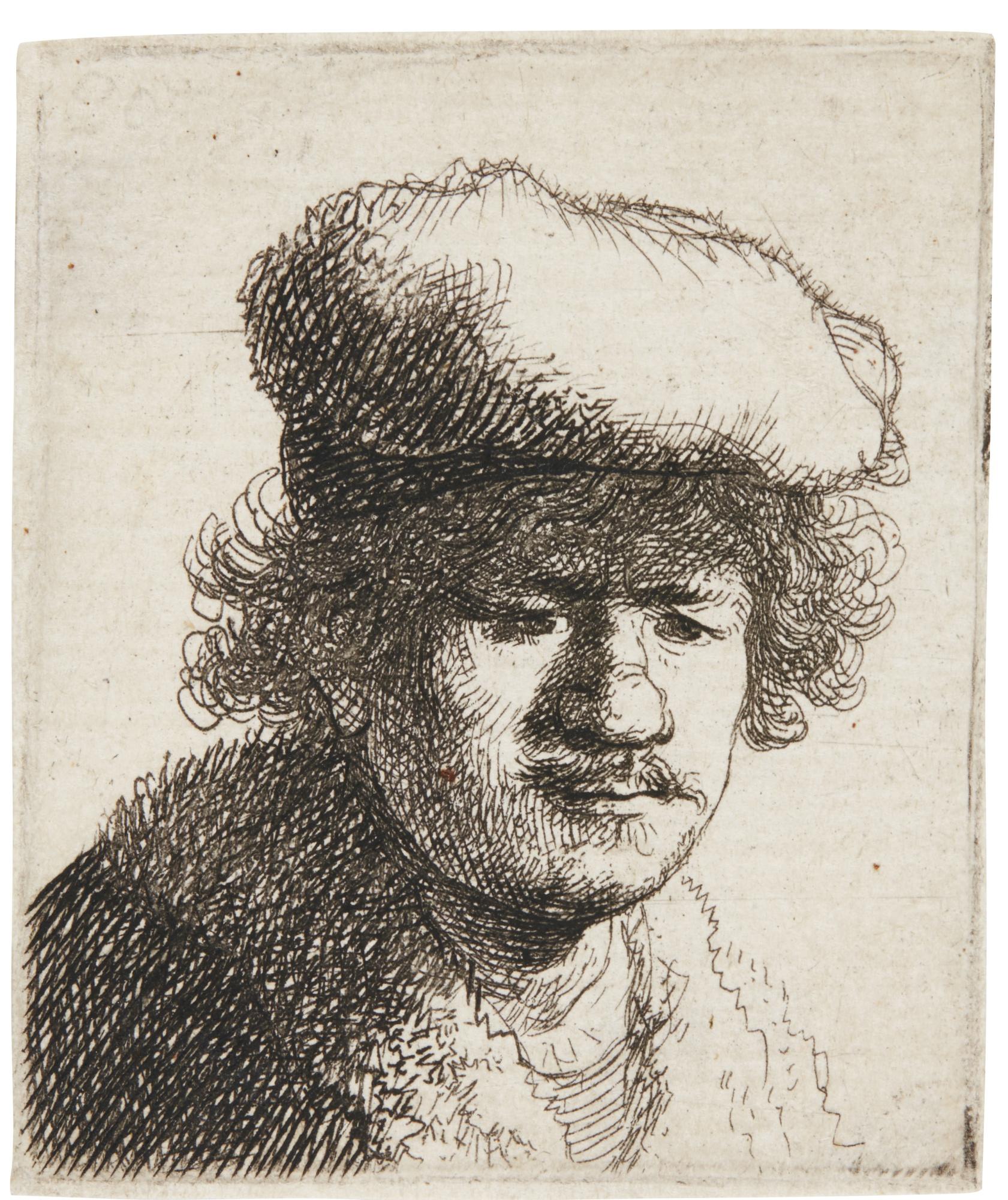 Rembrandt van Rijn-Self-Portrait With Cap Pulled Forward (B., Holl. 319; New Holl. 71; H. 58)-1630