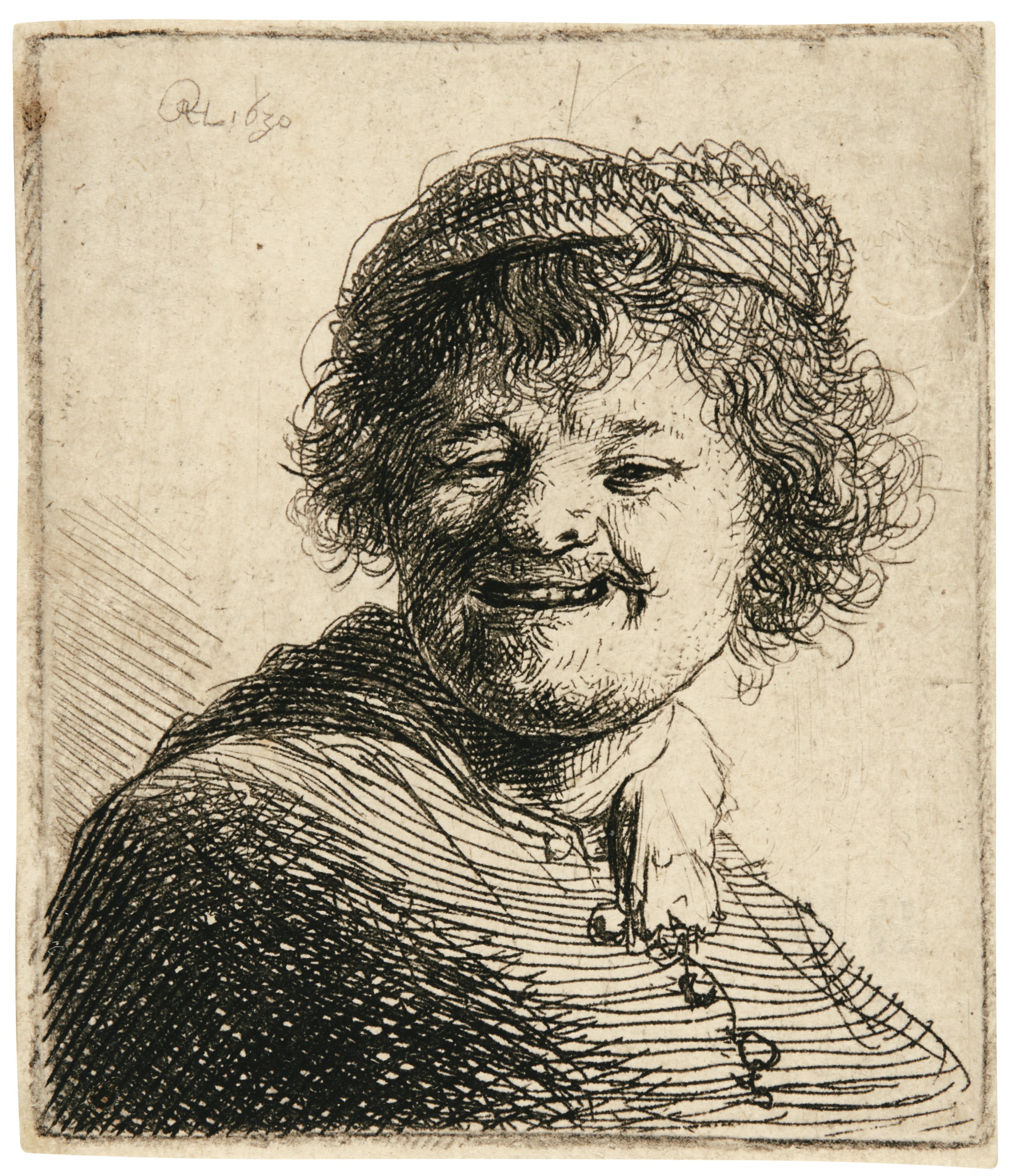 Rembrandt van Rijn-Self-Portrait In A Cap: Laughing (B., Holl 316; New Holl. 70; H. 34)-1630