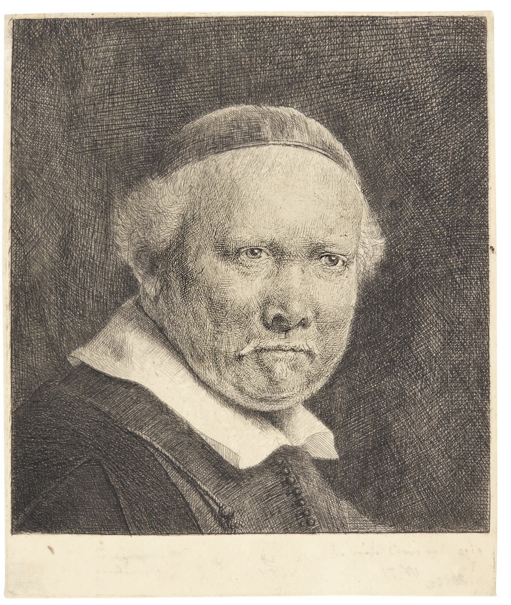 Rembrandt van Rijn-Lieven Willemsz. Van Coppenol, Writing Master: The Larger Plate (B., Holl. 283; New Holl. 306; H. 300)-1658