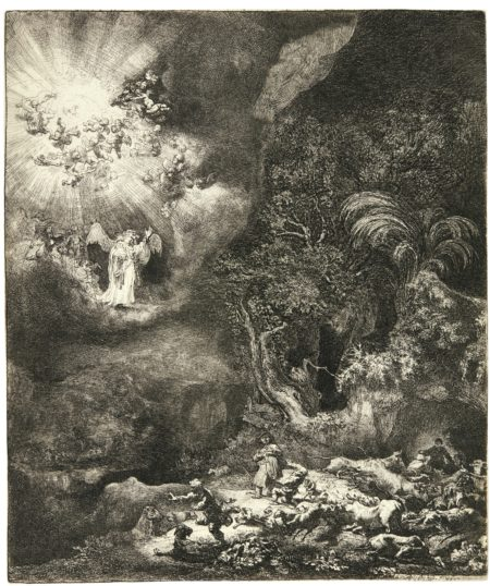 Rembrandt van Rijn-The Angel Appearing To The Shepherds (B., Holl. 44; New Holl. 125; H. 120)-1634