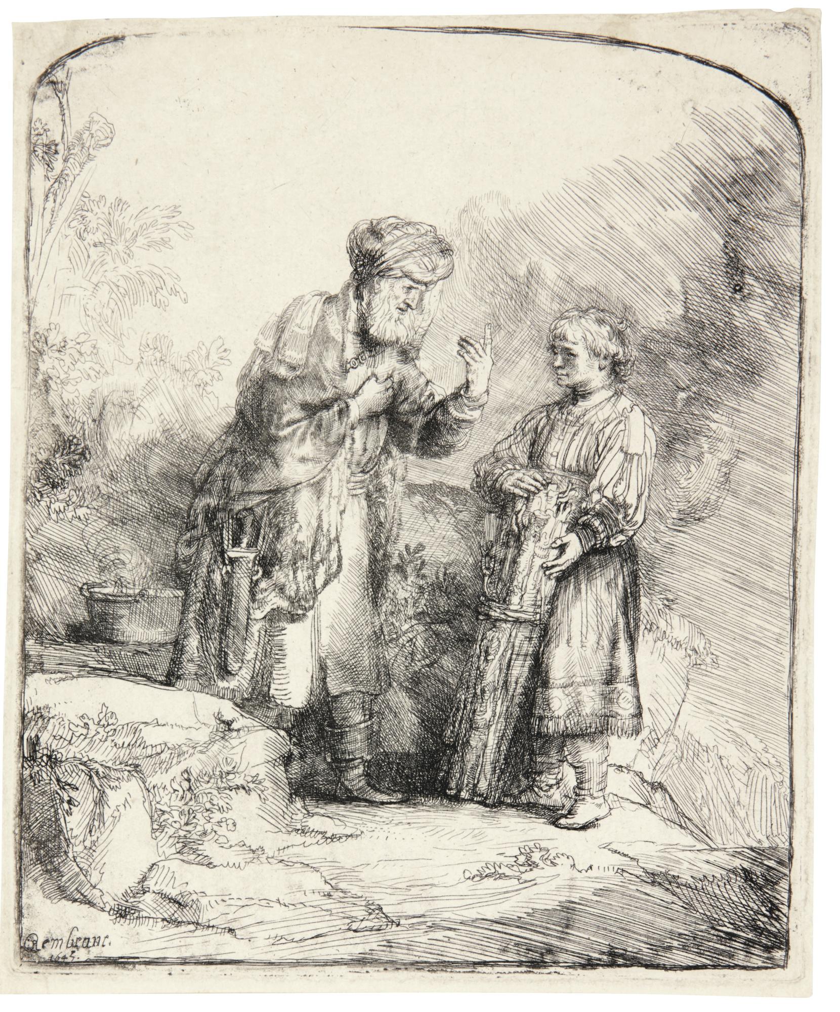 Rembrandt van Rijn-Abraham And Isaac (B., Holl. 34; New Holl. 224; H. 214)-1645