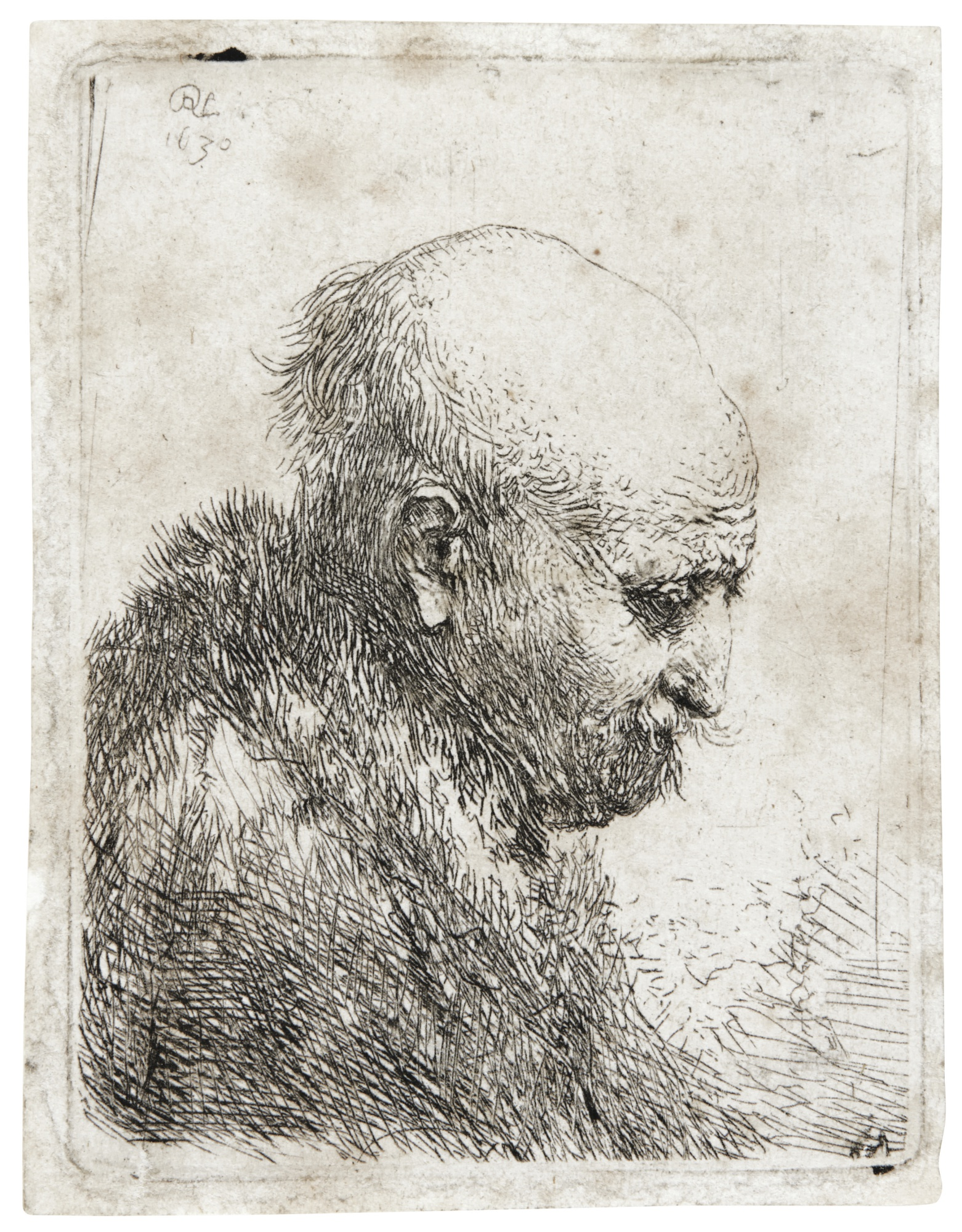 Rembrandt van Rijn-A Bald-Headed Man In Profile Right, Small Bust, The Artist'S Father (?) (B., Holl. 294; New Holl. 61; H. 24)-1630