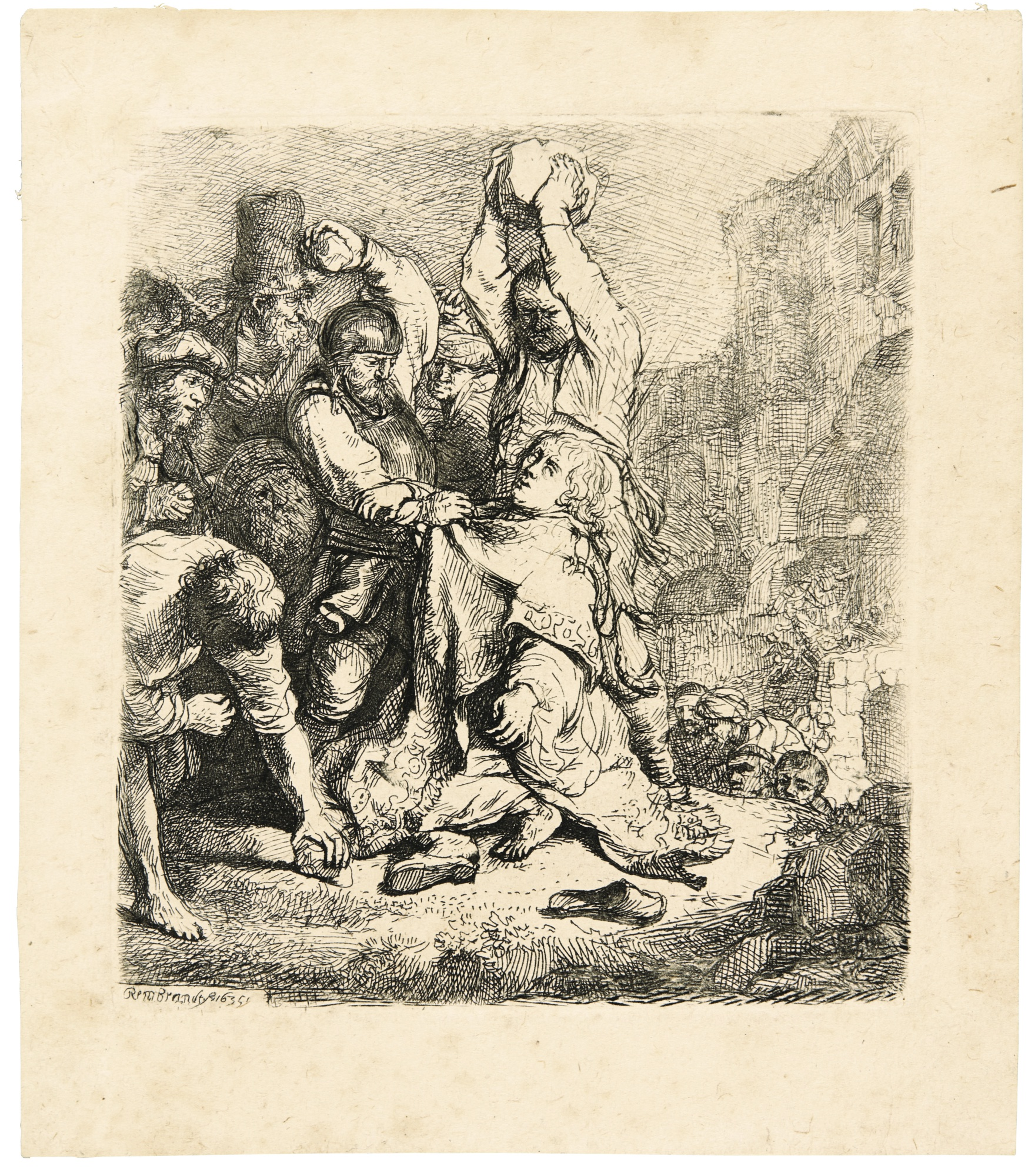 Rembrandt van Rijn-The Stoning Of Saint Stephen (B., Holl. 97; New Holl. 140; H. 125)-1635