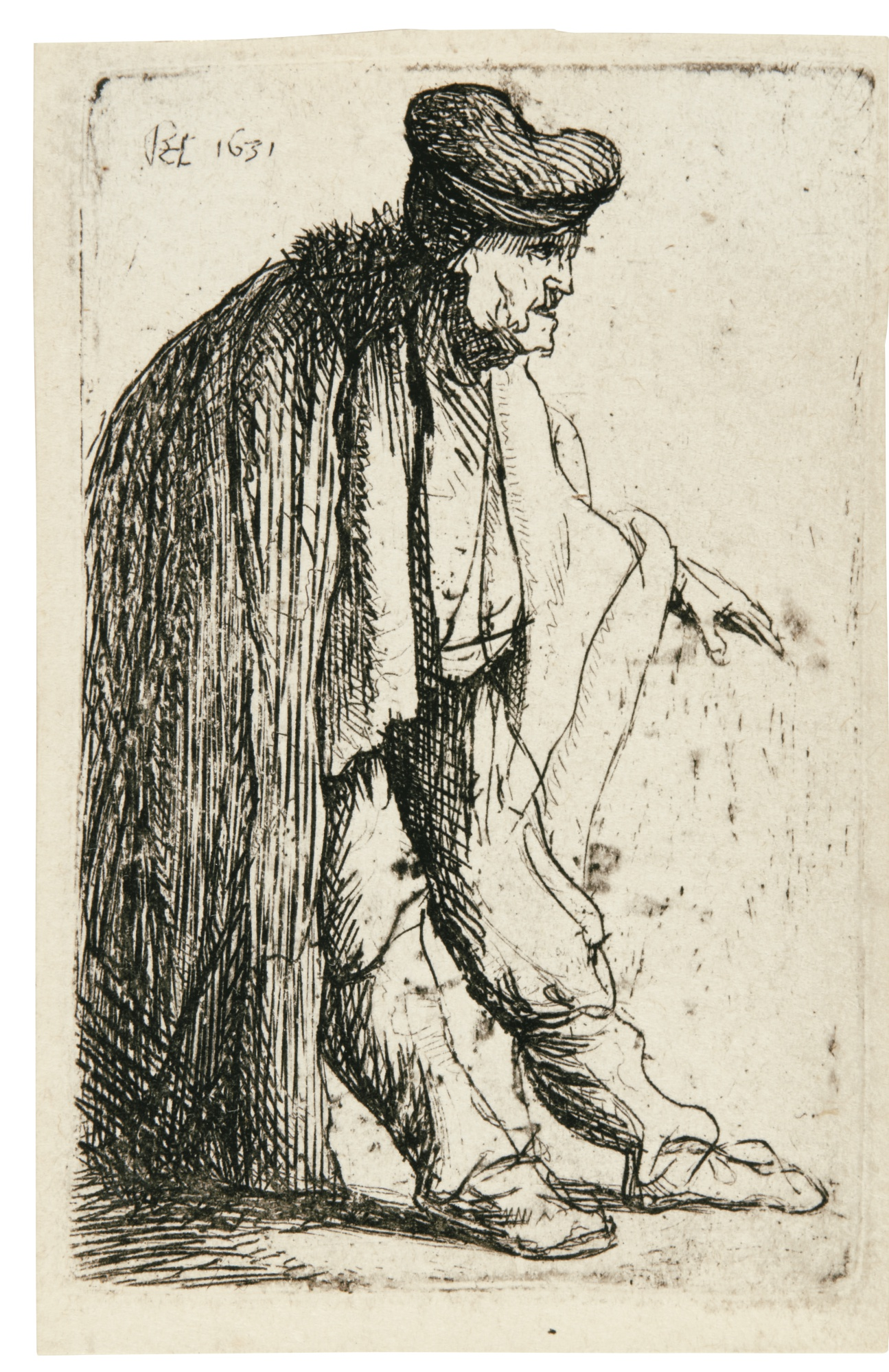 Rembrandt van Rijn-Beggar With His Left Arm Extended (B., Holl. 150; New Holl. 30; H. 73)-1629