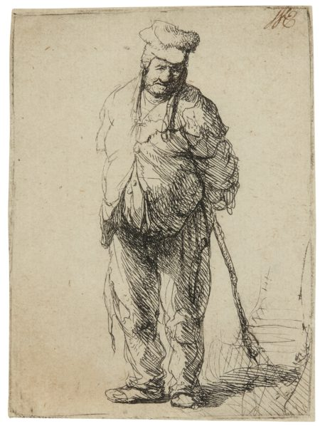 Rembrandt van Rijn-Ragged Peasant With His Hands Behind Him, Holding A Stick (B., Holl. 172; New Holl. 47; H. 16)-1630