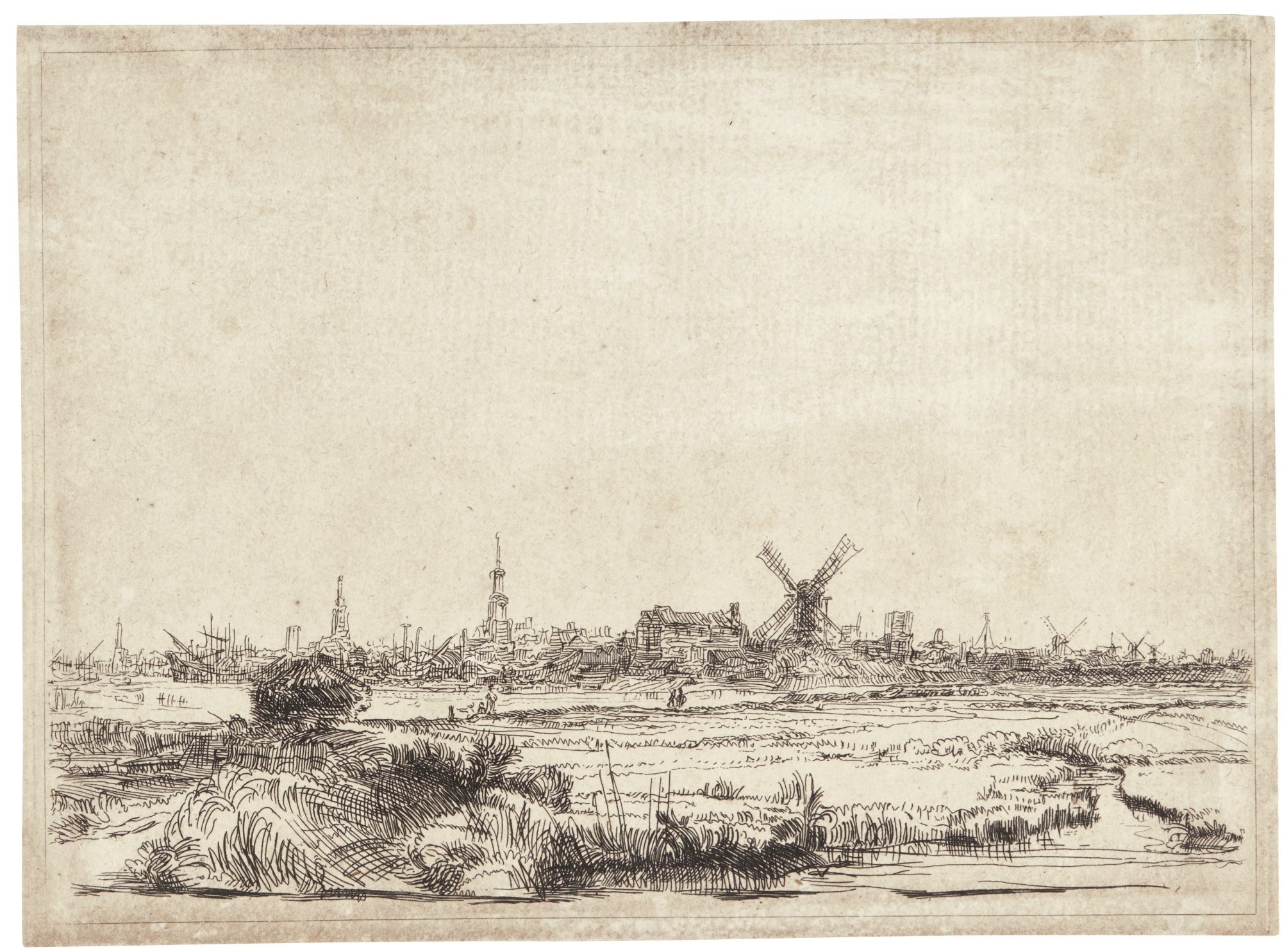 Rembrandt van Rijn-View Of Amsterdam From The Kadijk (B., Holl. 210; New Holl. 203; H. 176)-1642