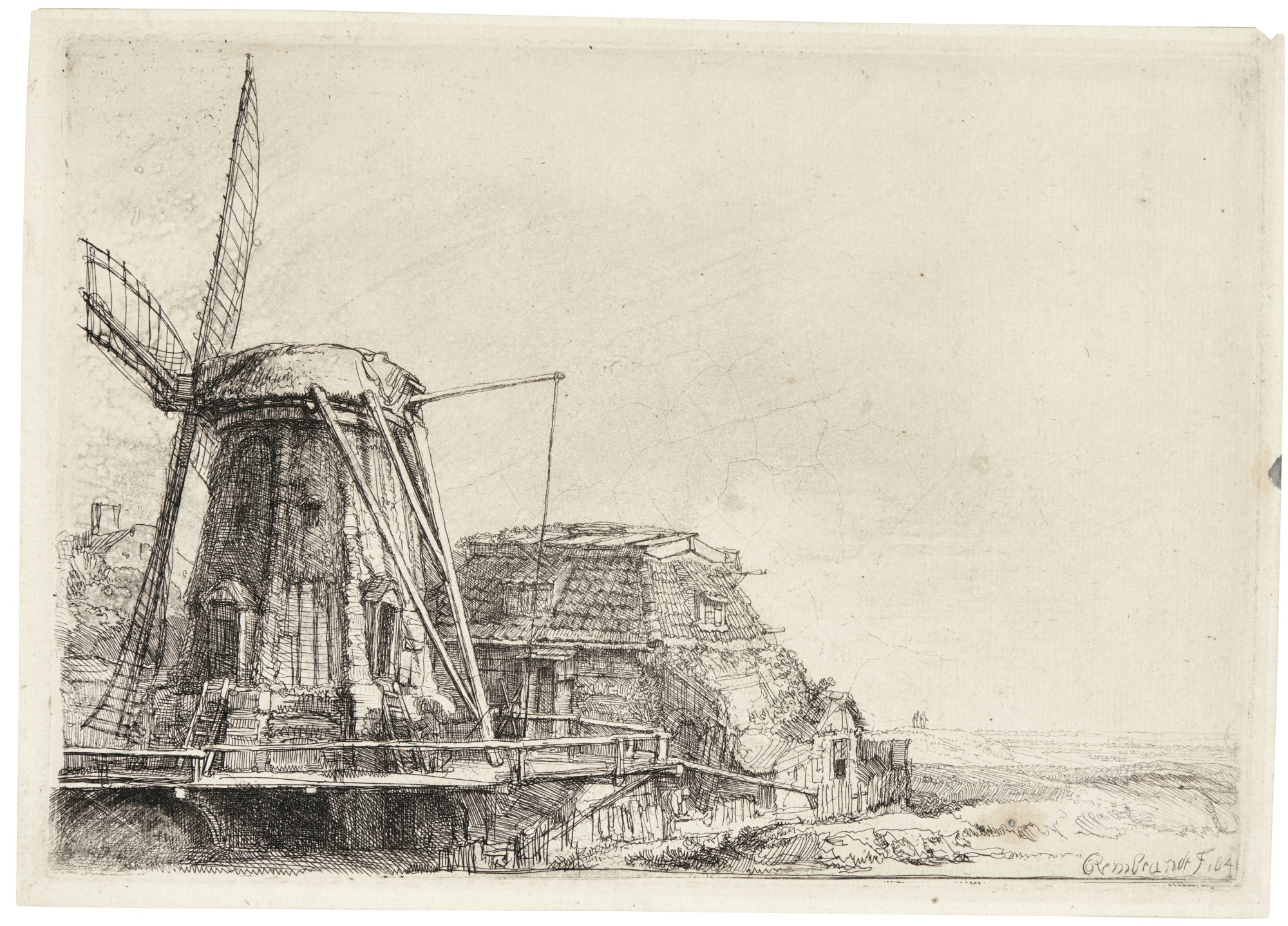 Rembrandt van Rijn-The Windmill (B., Holl. 233; New Holl. 200; H. 179)-1641