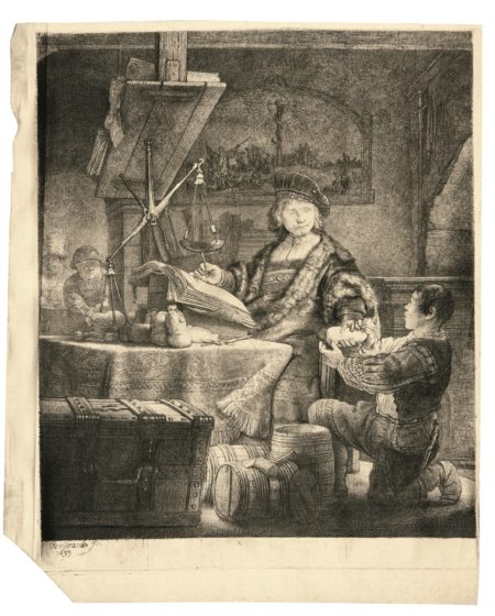 Rembrandt van Rijn-Jan Uytenbogaert, 'The Goldweigher' (B., Holl. 281; New Holl. 172; H. 167)-1639