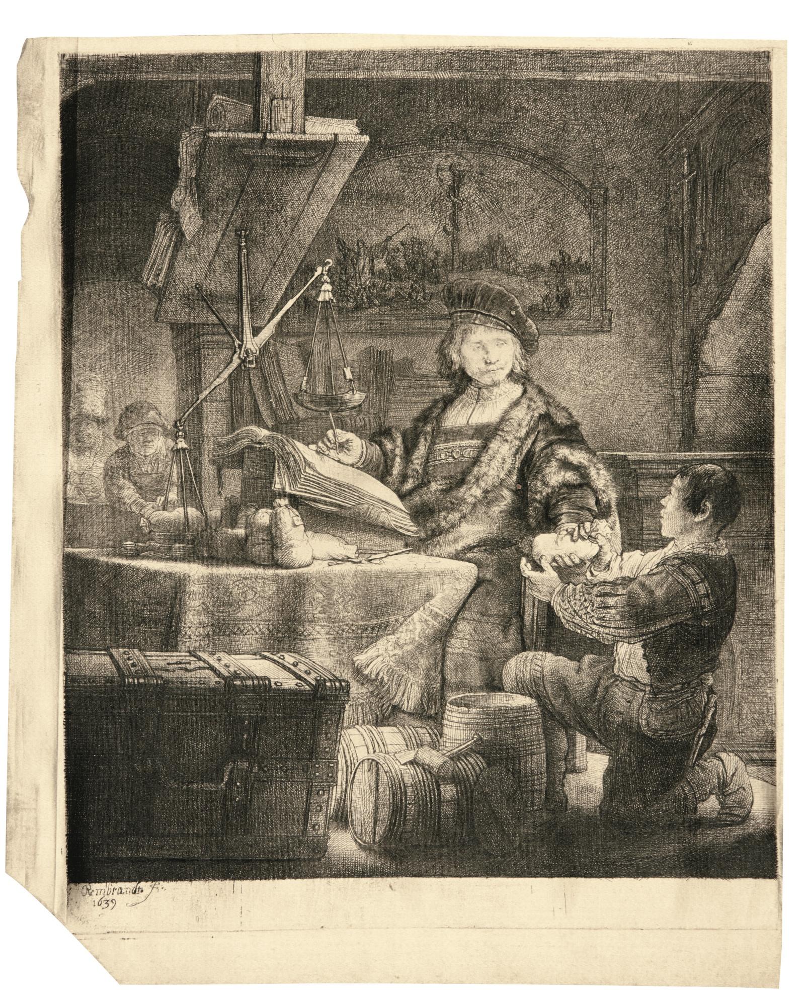 Rembrandt van Rijn-Jan Uytenbogaert, 'The Goldweigher' (B., Holl. 281; New Holl. 172; H. 167)-1639
