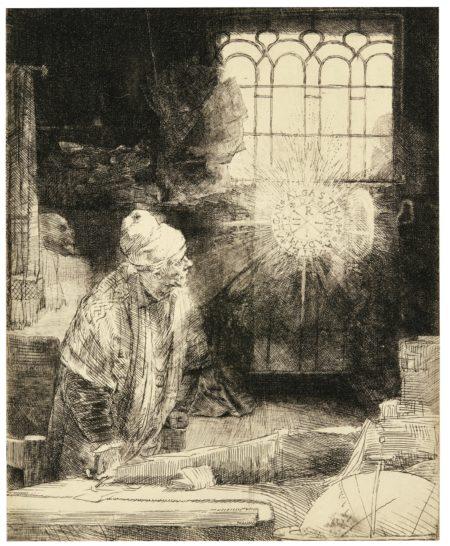 Rembrandt van Rijn-A Scholar In His Study ('Faust') (B., Holl. 270; New Holl. 270; H. 260)-1652