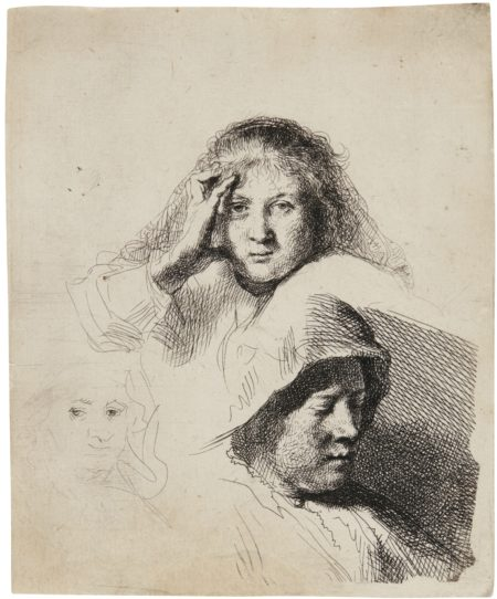 Rembrandt van Rijn-Three Heads Of Women, One Lightly Etched (B., Holl. 367; New Holl. 162; H. 153)-1637