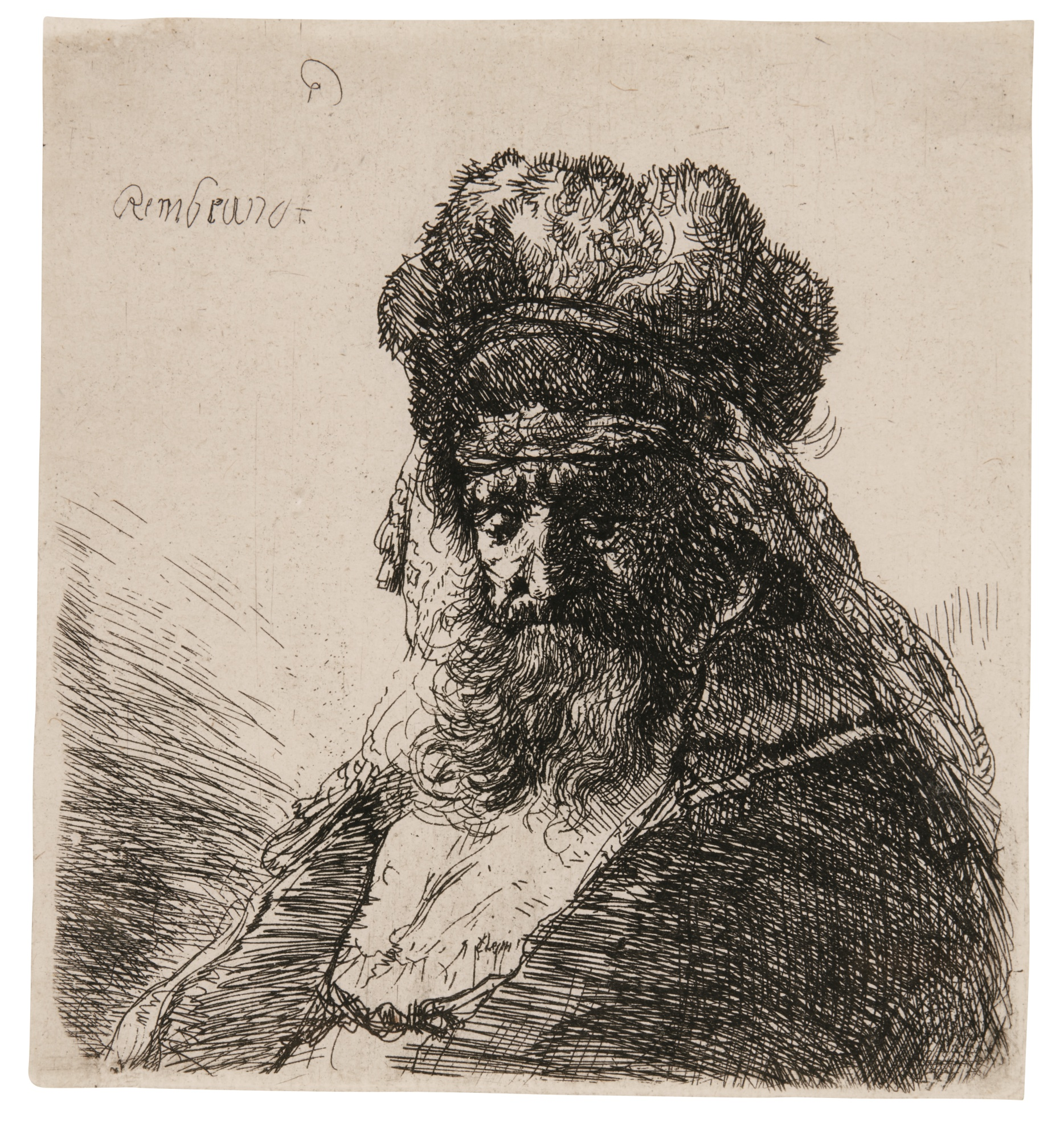 Rembrandt van Rijn-Old Bearded Man In A High Fur Cap, With Eyes Closed (B., Holl. 290; New Holl. 148; H. 130)-