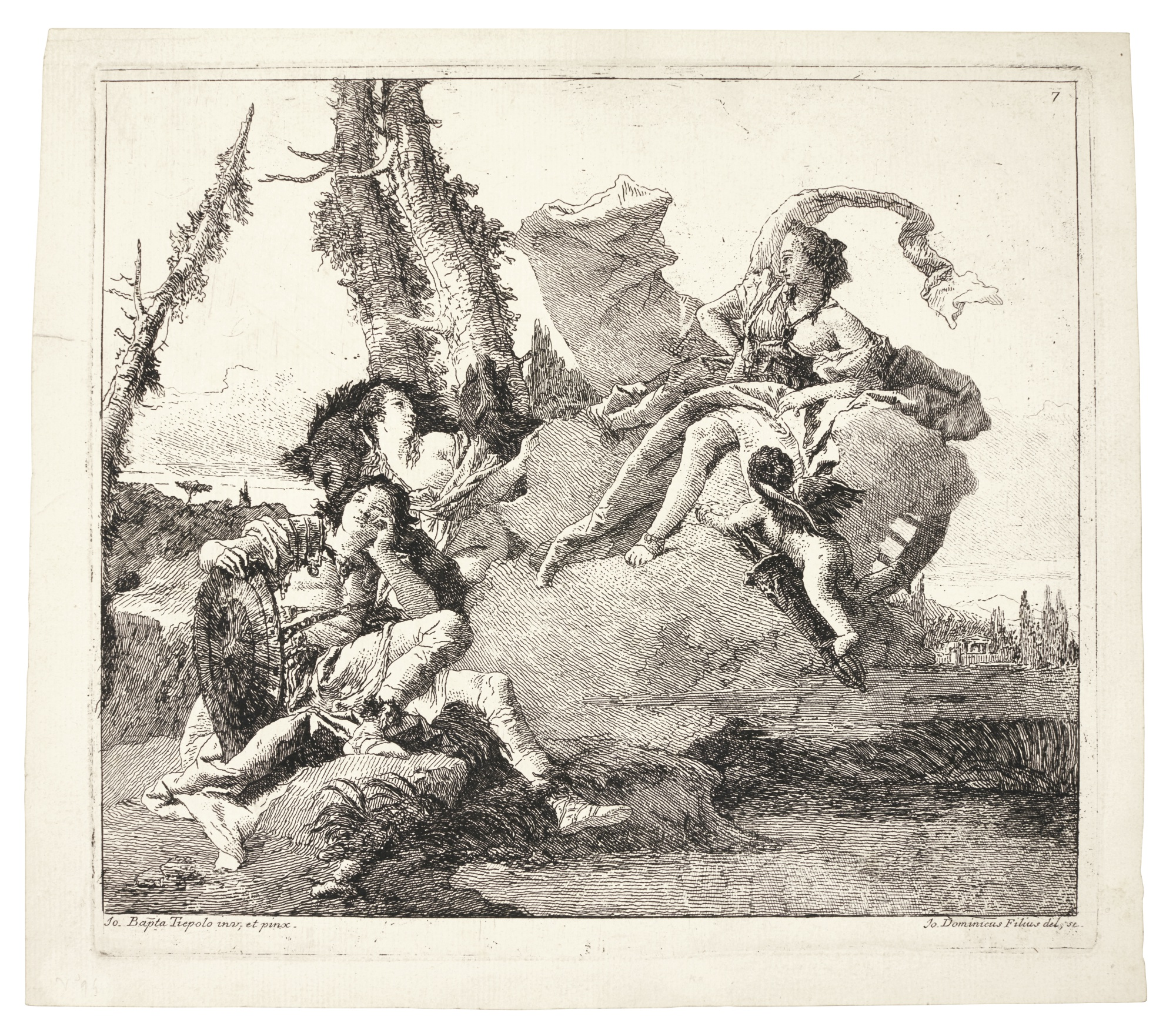 Giovanni Domenico Tiepolo-Armida Falls In Love With Rinaldo; And The Baptism Of The Emperor Constantine (De Vesme 94, 83; Rizzi 146, 134)-1760