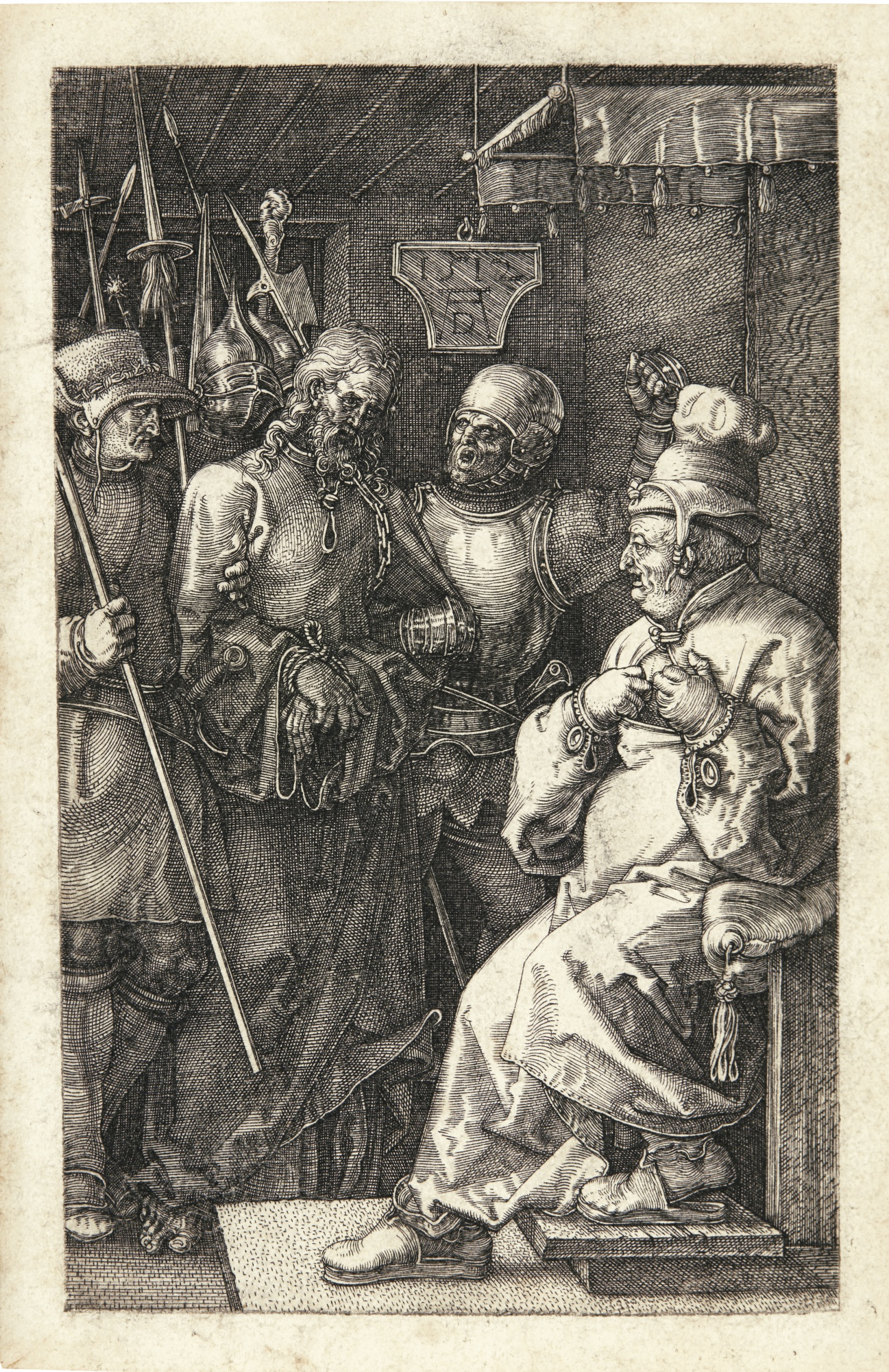 Albrecht Durer-Christ Before Caiaphas (B., M., Holl. 6)-1512